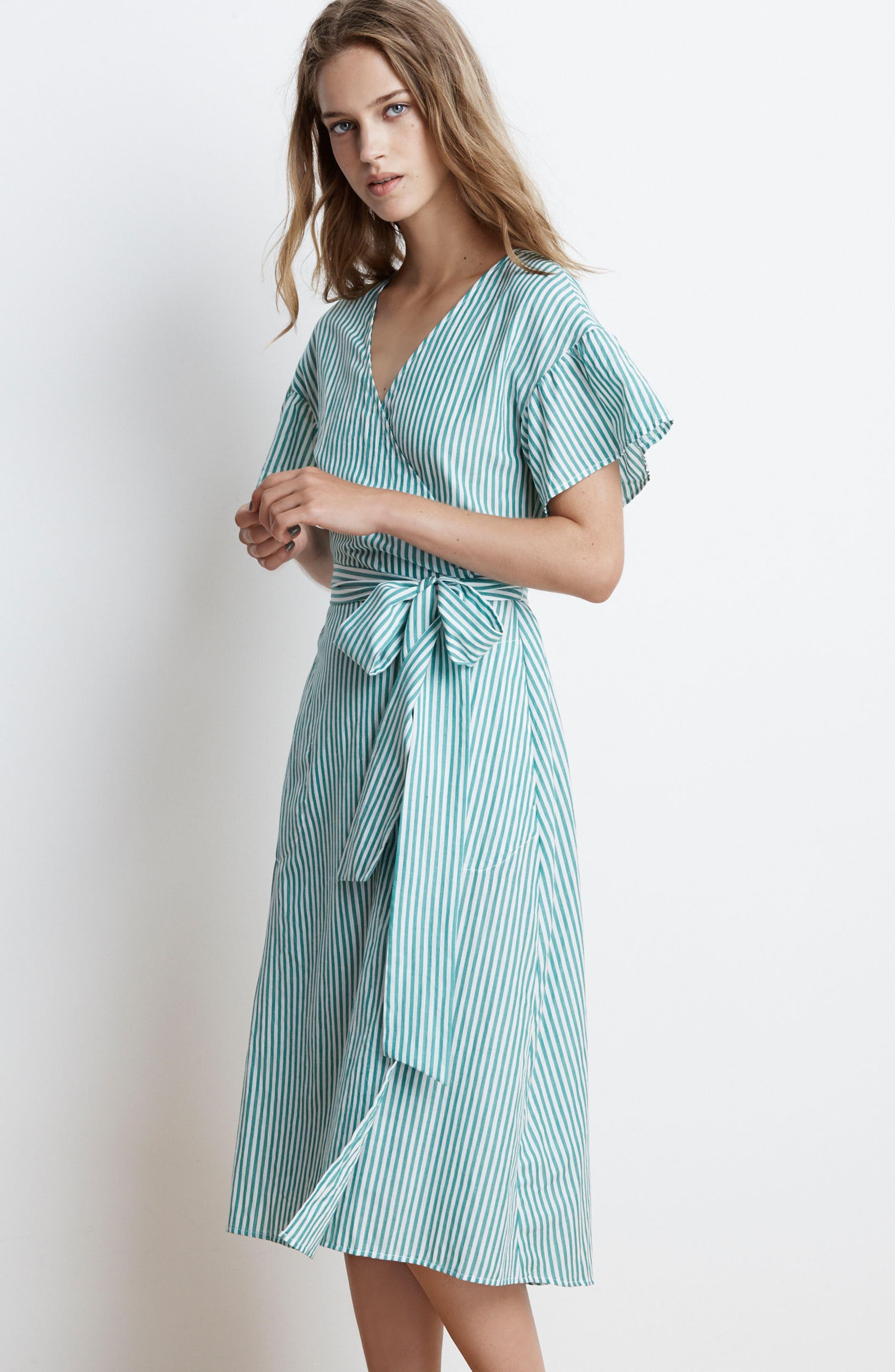 Stripe Cotton Wrap Dress,                             Alternate thumbnail 8, color,                             389