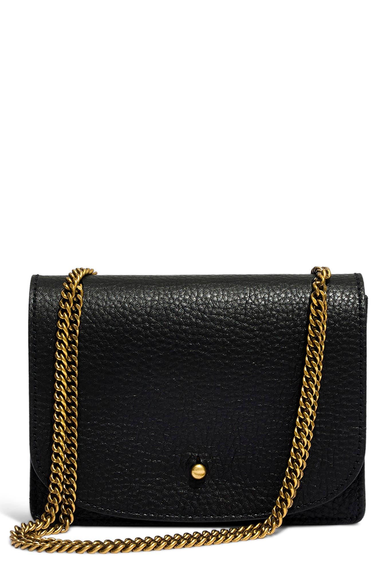 Leather Crossbody Wallet,                         Main,                         color, TRUE BLACK