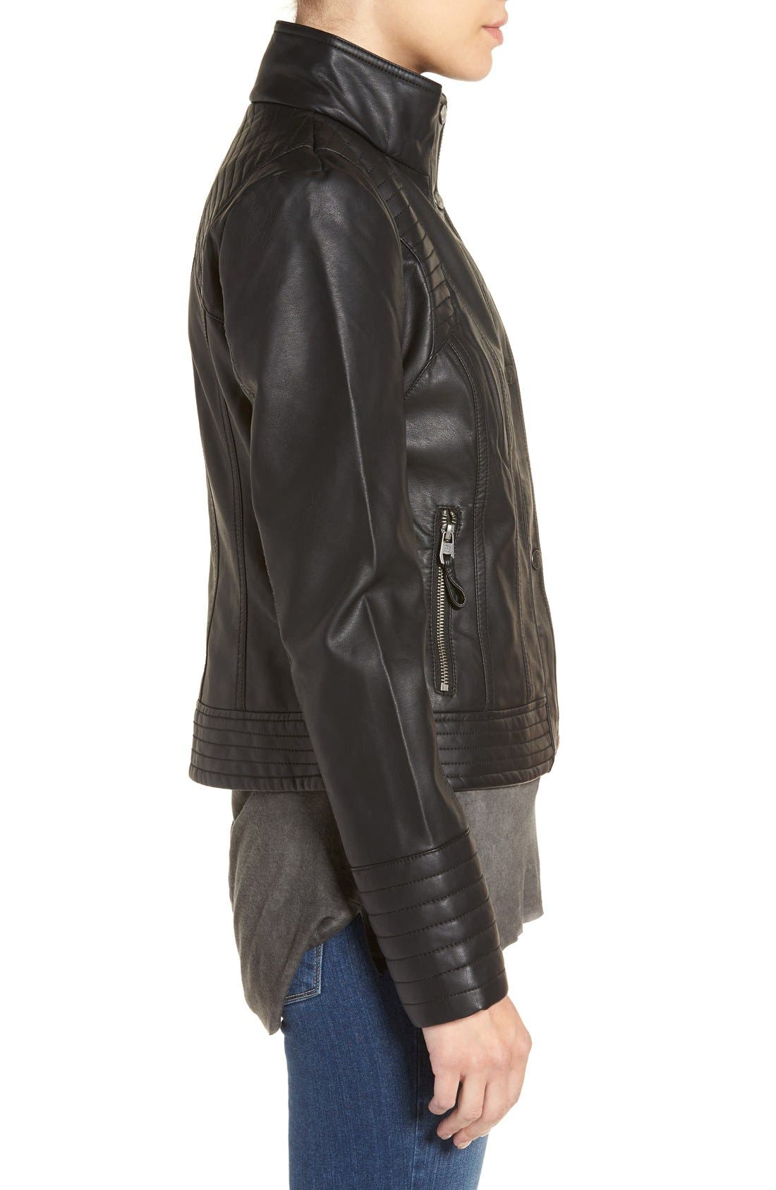 Quilted Faux Leather Jacket,                             Alternate thumbnail 3, color,                             001