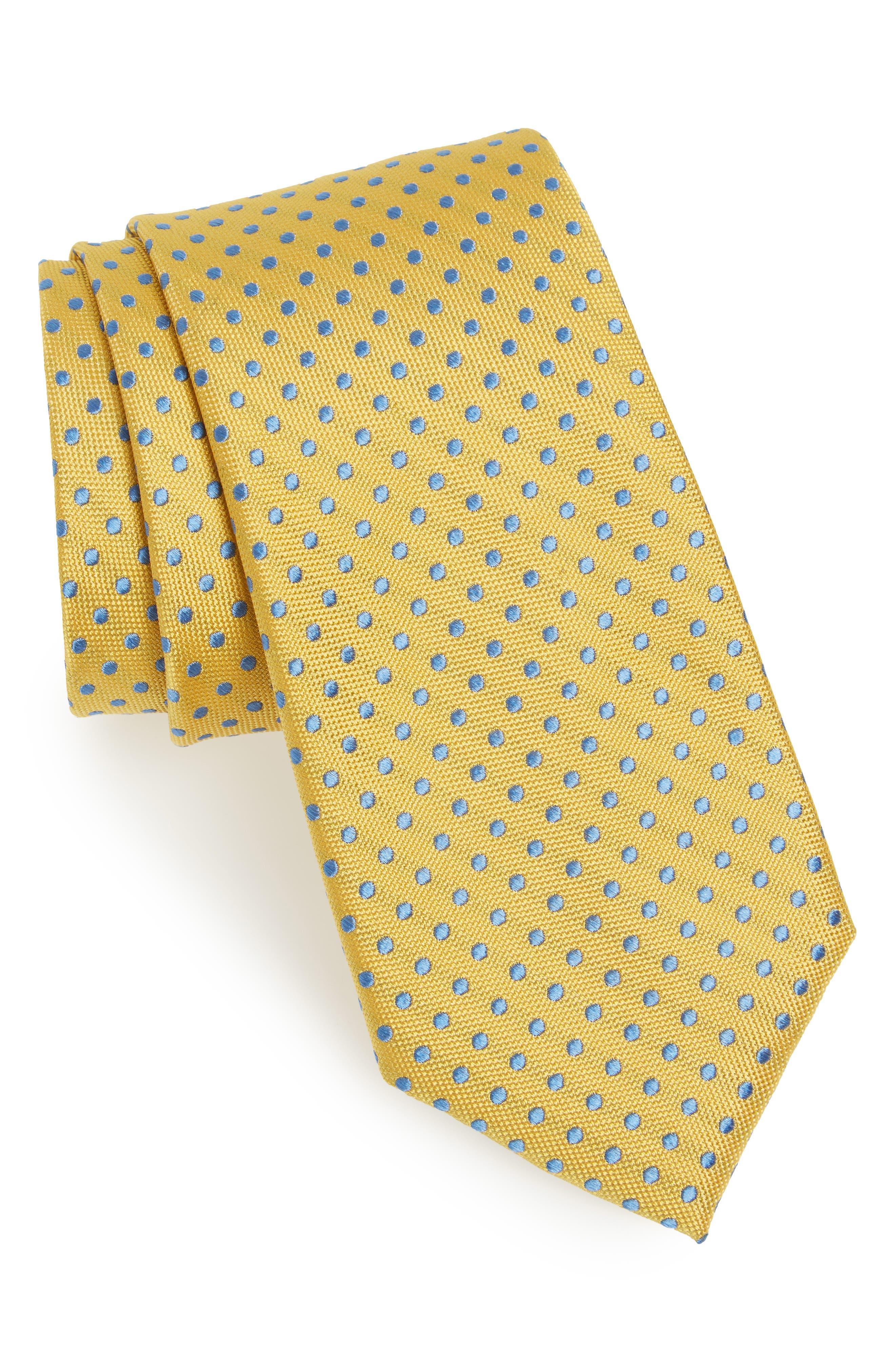 Norton Dot Silk Tie,                         Main,                         color, YELLOW