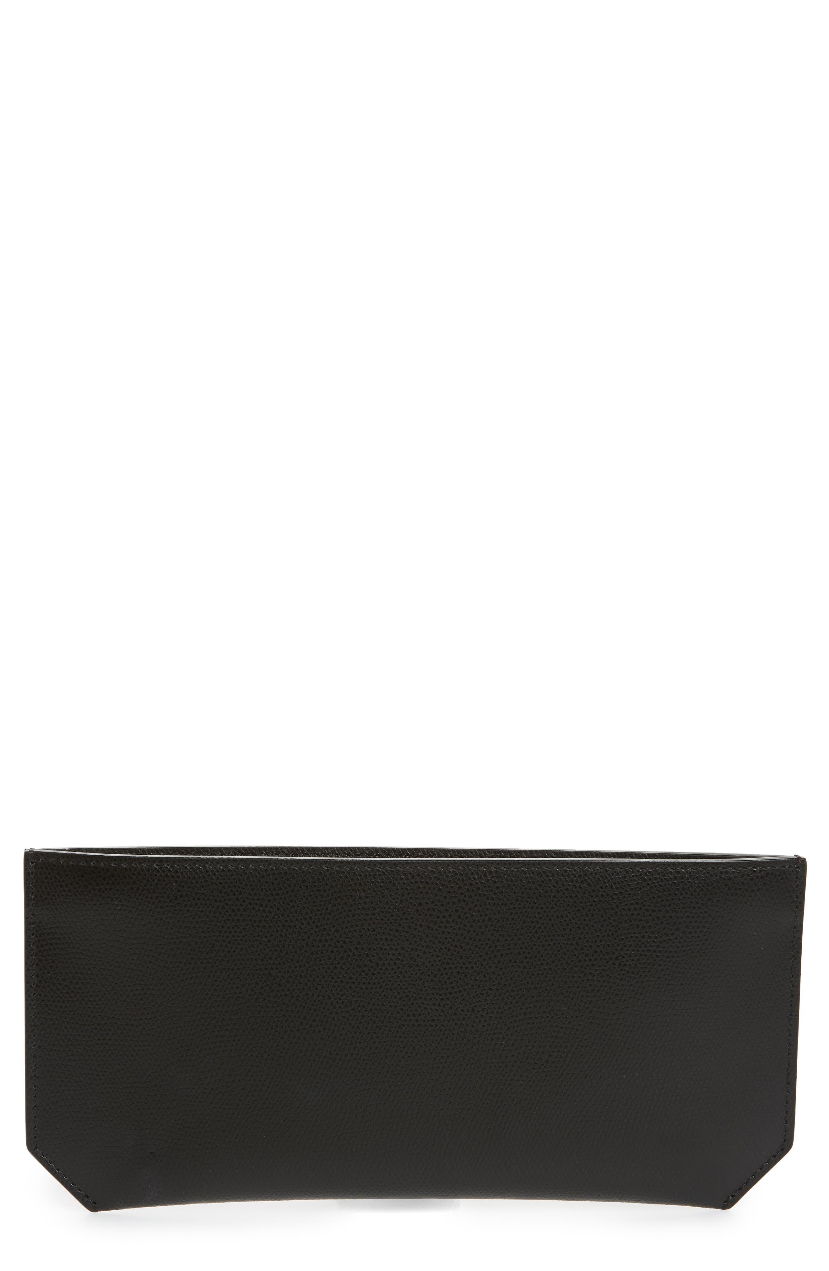 Pebbled Leather Bracelet Pouch,                             Main thumbnail 1, color,                             NOIR