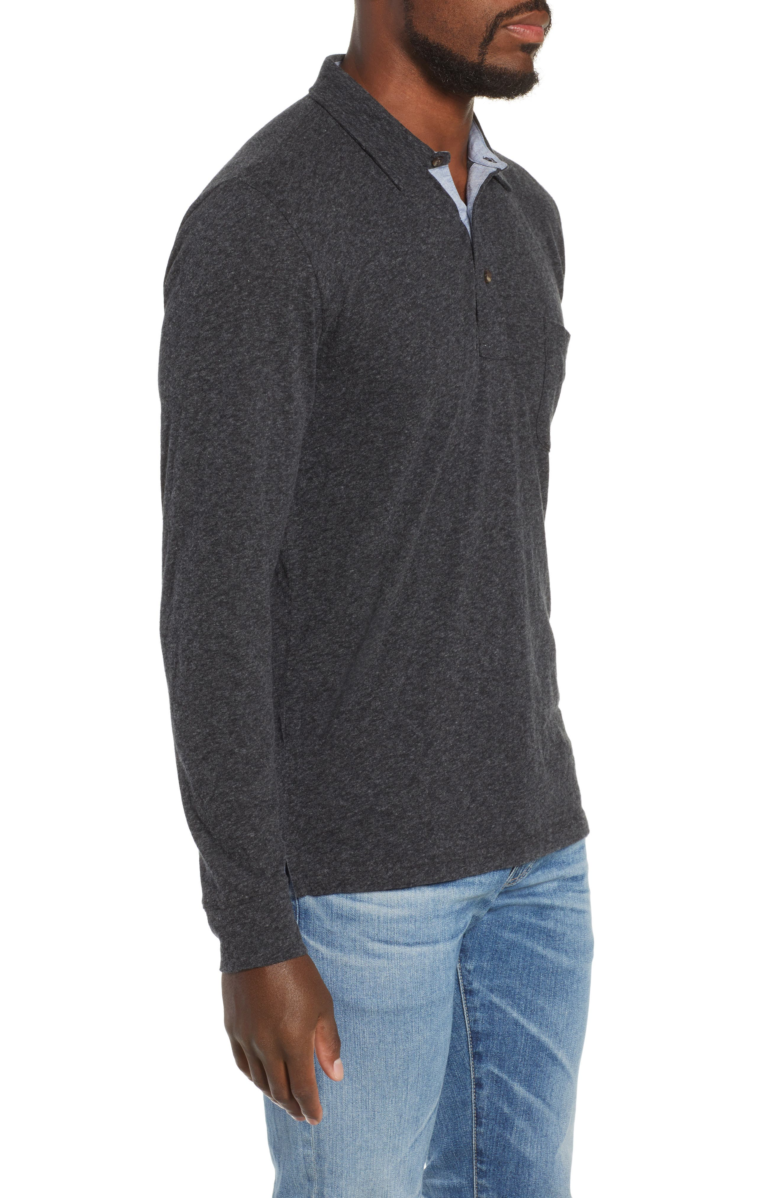 Luxe Heather Long Sleeve Polo,                             Alternate thumbnail 3, color,                             WASHED BLACK