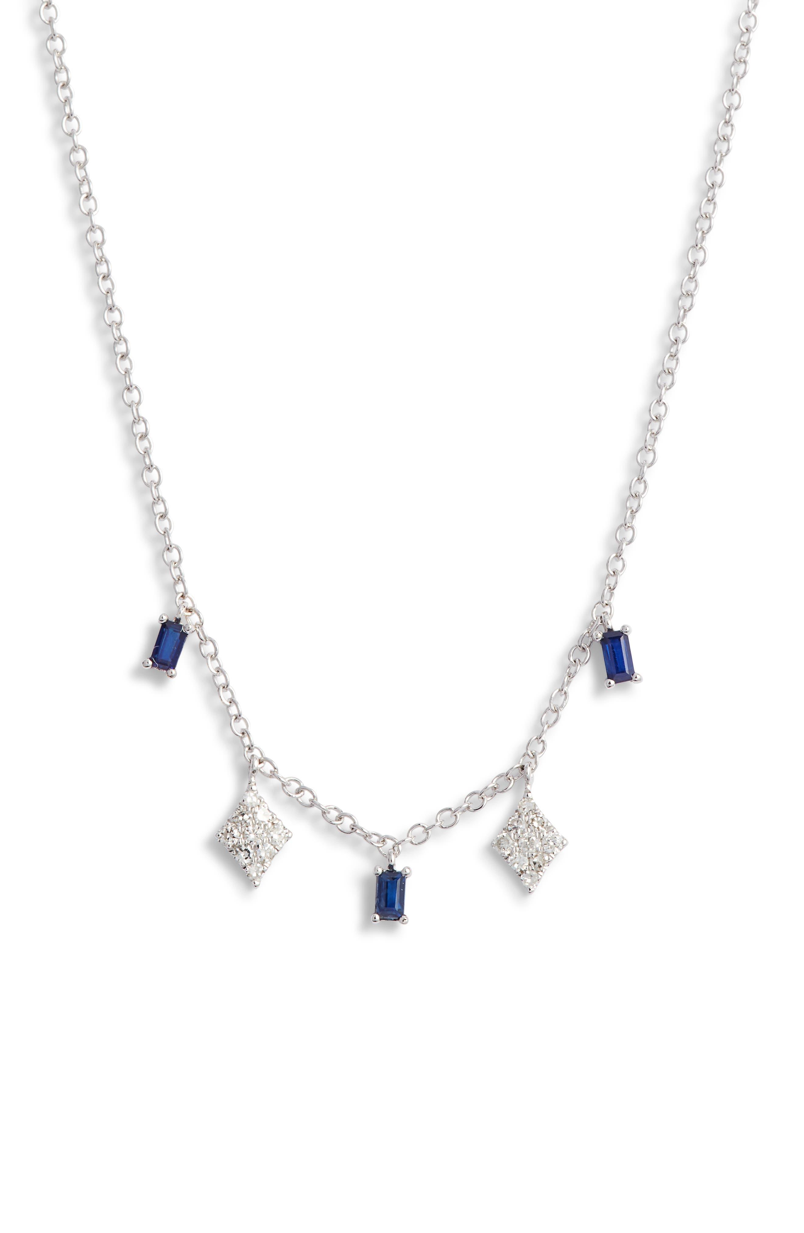 MEIRA T Sapphire & Diamond Charm Necklace in White Gold/ Diamond/ Sapphire