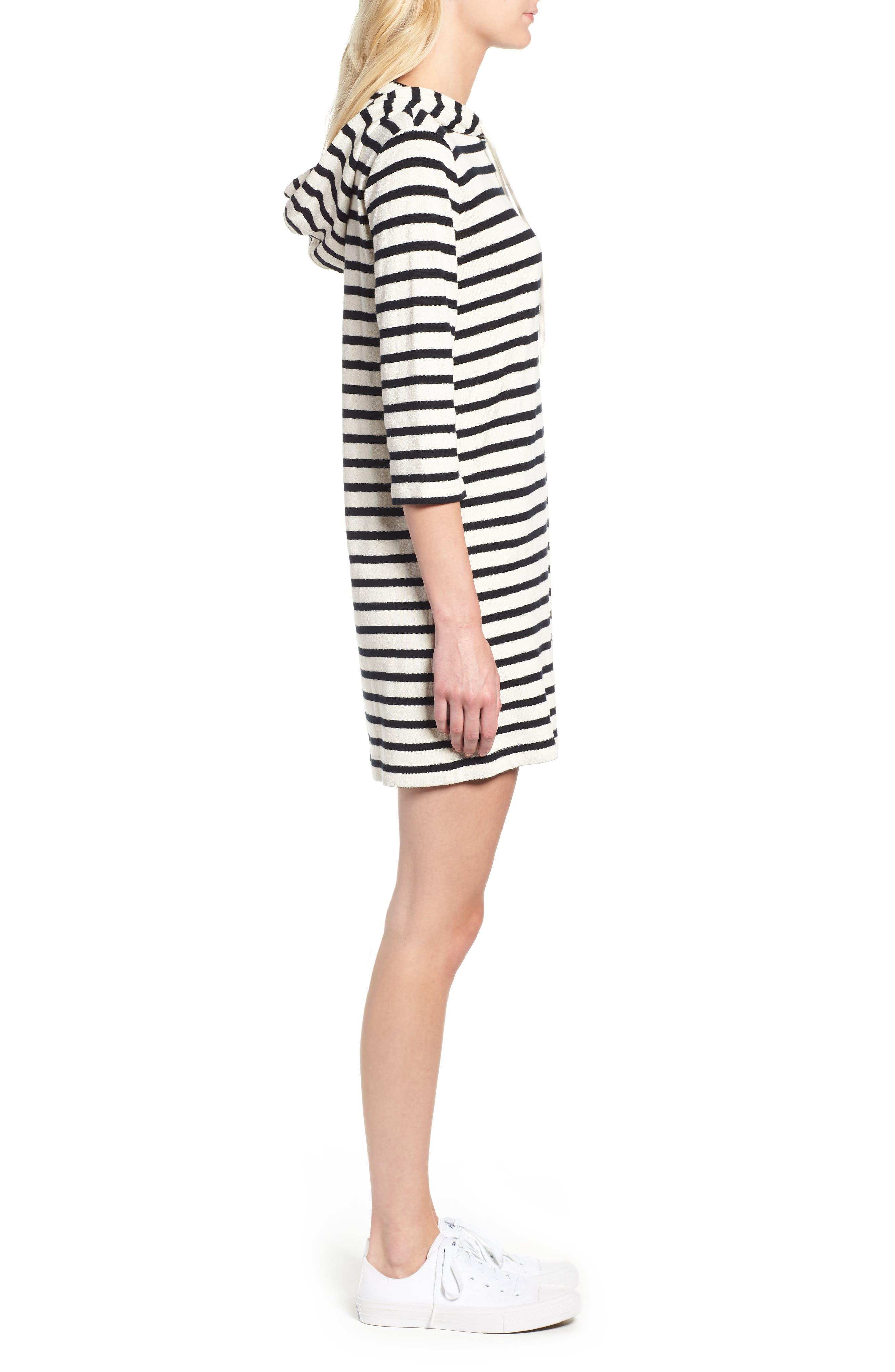 Striped Hoodie Dress,                             Alternate thumbnail 4, color,                             BLACK/ WHITE