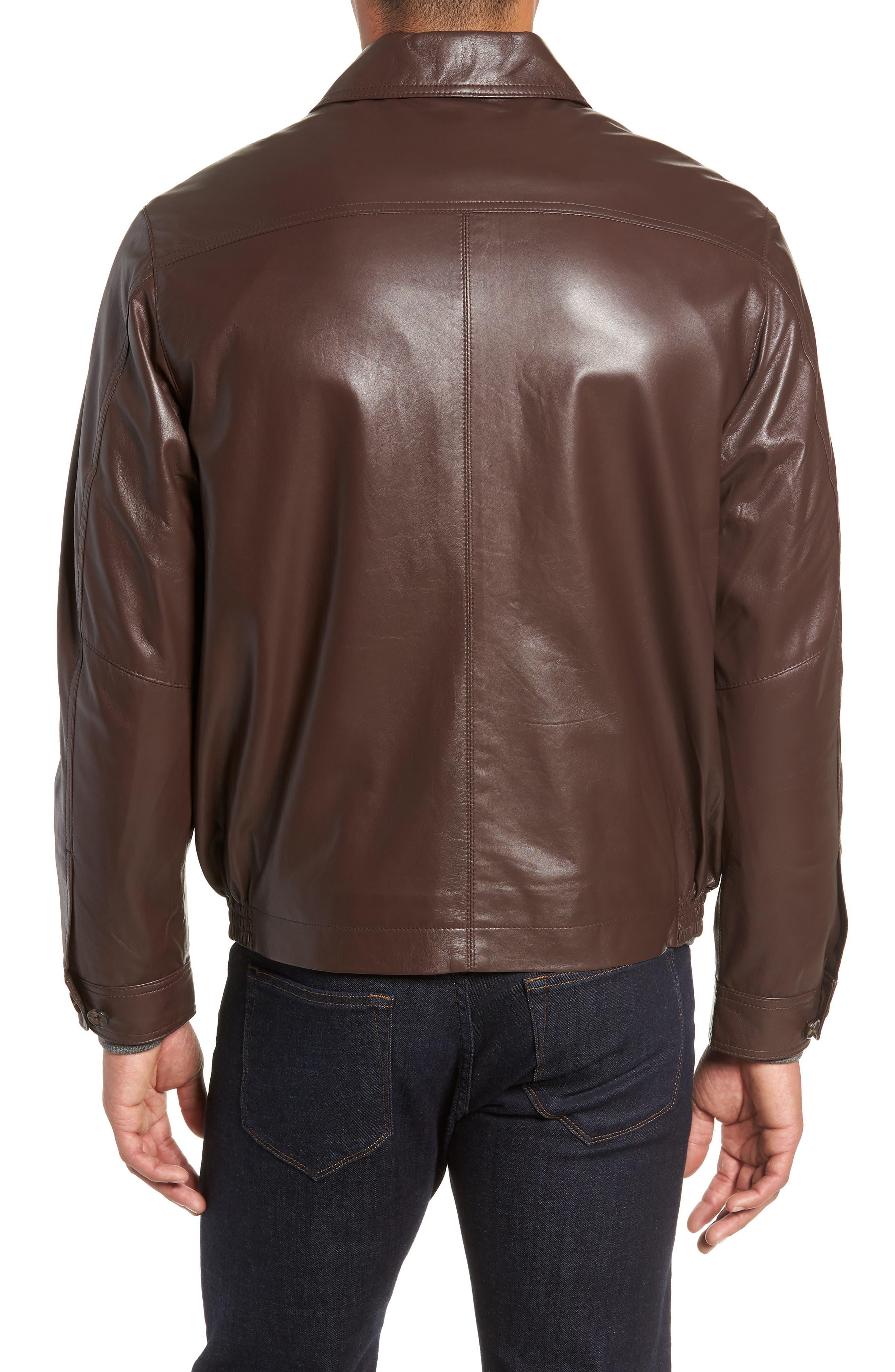 GOLDEN BEAR,                             The Bartlett Leather Jacket,                             Alternate thumbnail 2, color,                             DARK BROWN