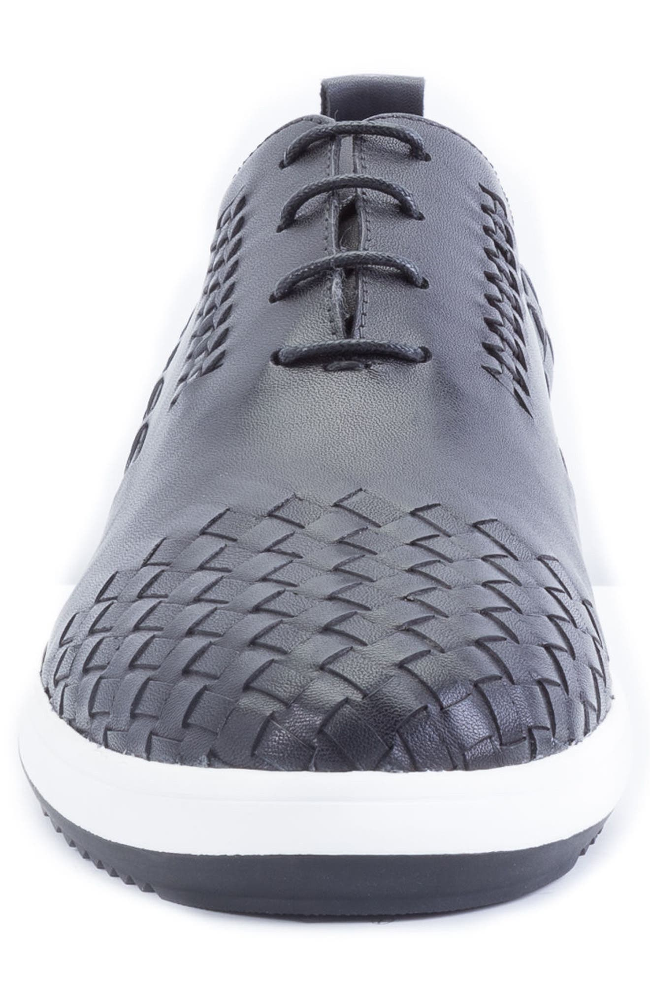 Digital Woven Cap Toe Sneaker,                             Alternate thumbnail 4, color,                             BLACK LEATHER