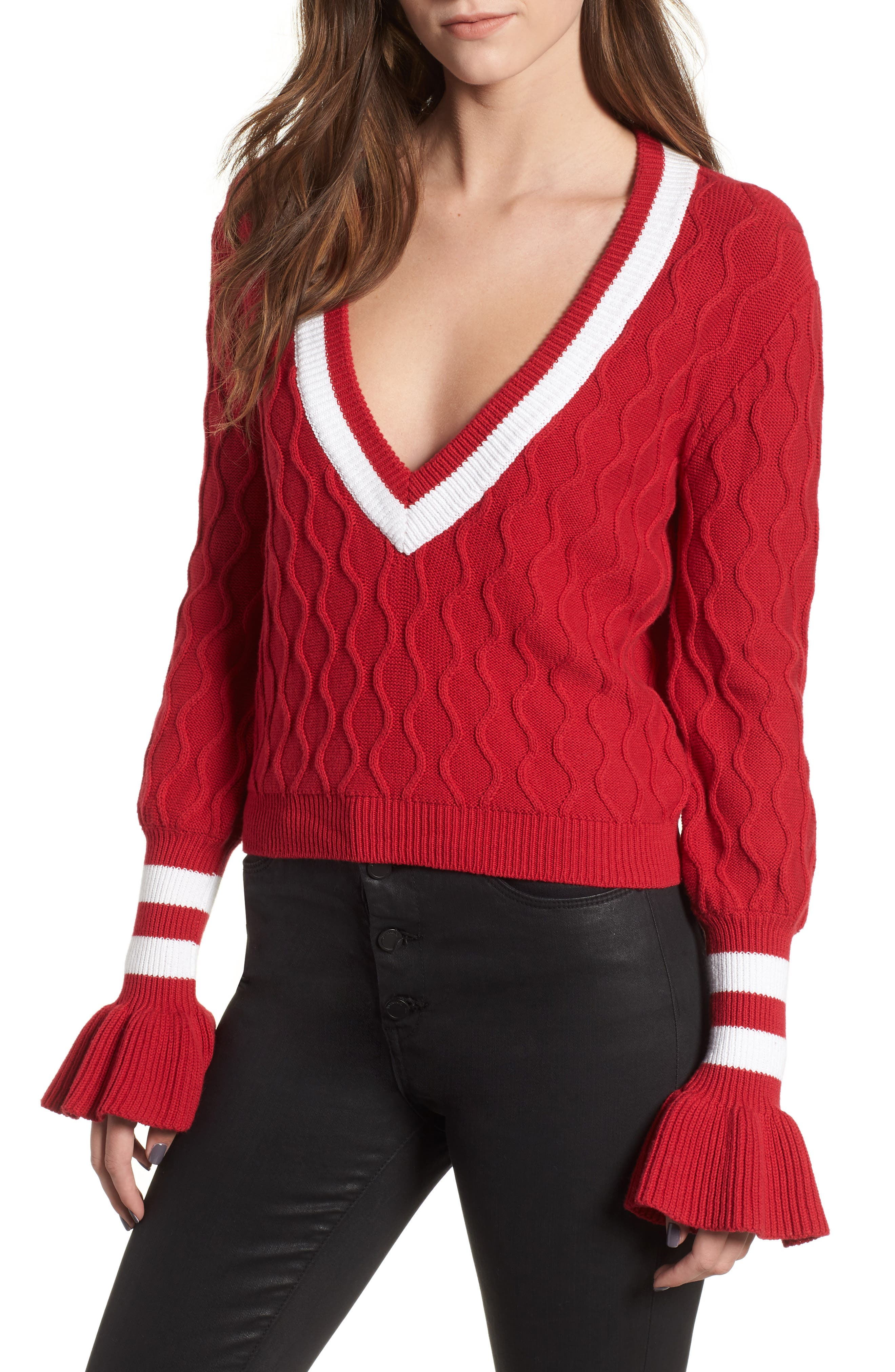 Graduate Bell Sleeve Sweater,                             Main thumbnail 1, color,                             BERRY/ WHITE