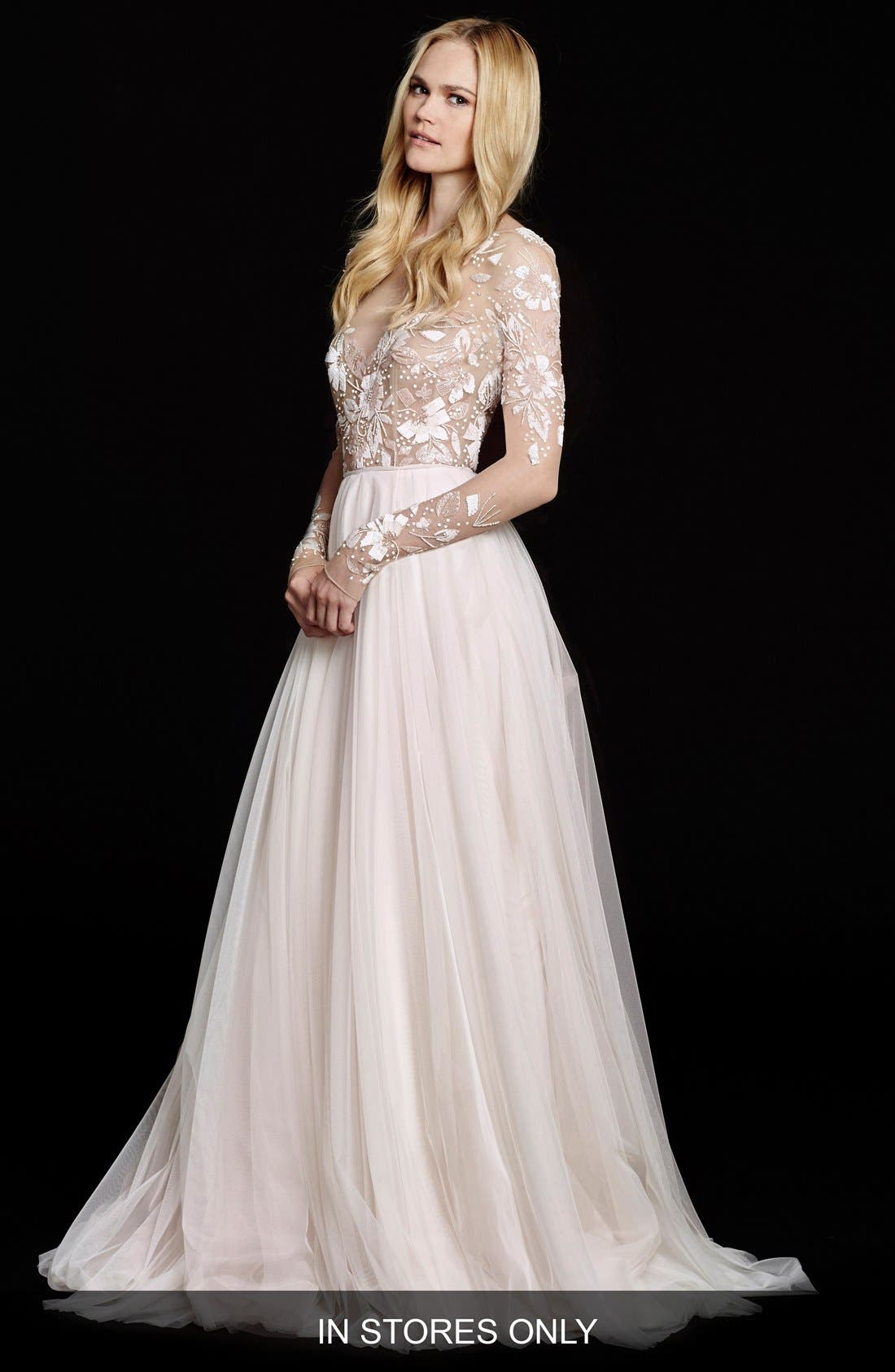 Remmington Embellished English Net Gown,                         Main,                         color, ROSEWATER
