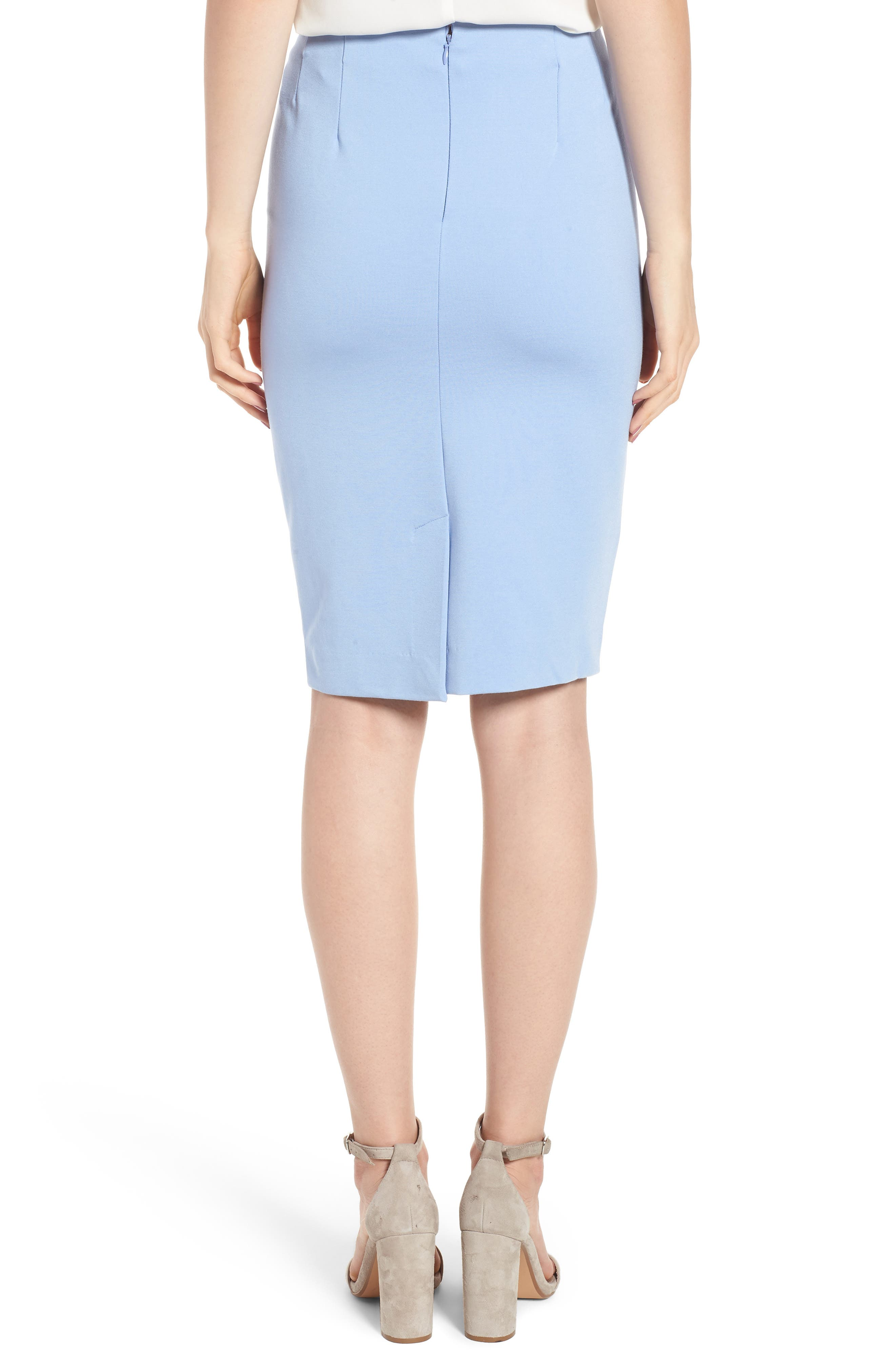Ponte Pencil Skirt,                             Alternate thumbnail 2, color,                             SOFT BLUE
