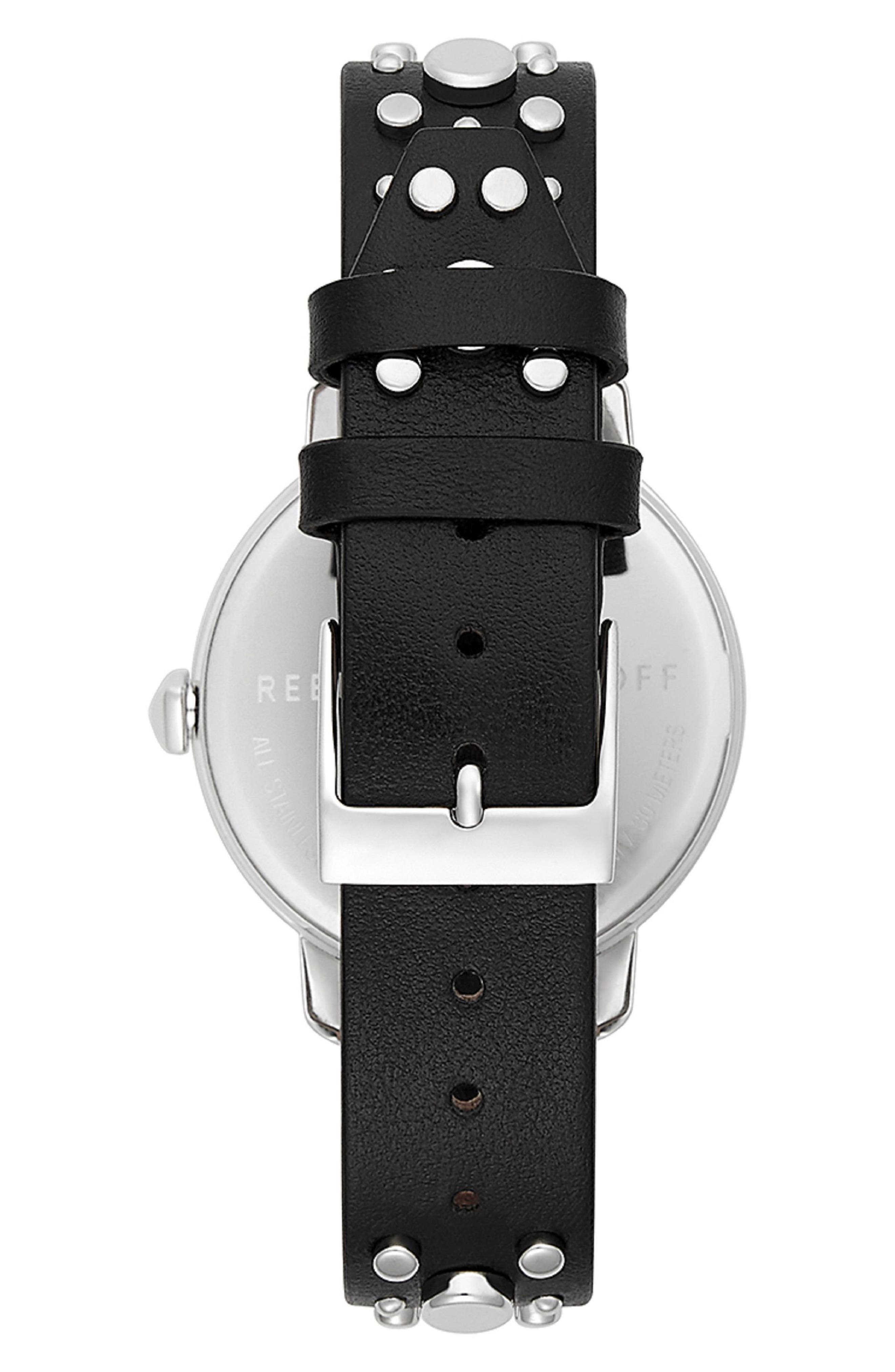 REBECCA MINKOFF,                             BFFL Studded Leather Strap Watch, 36mm,                             Alternate thumbnail 2, color,                             BLACK/ SILVER WHITE/ SILVER