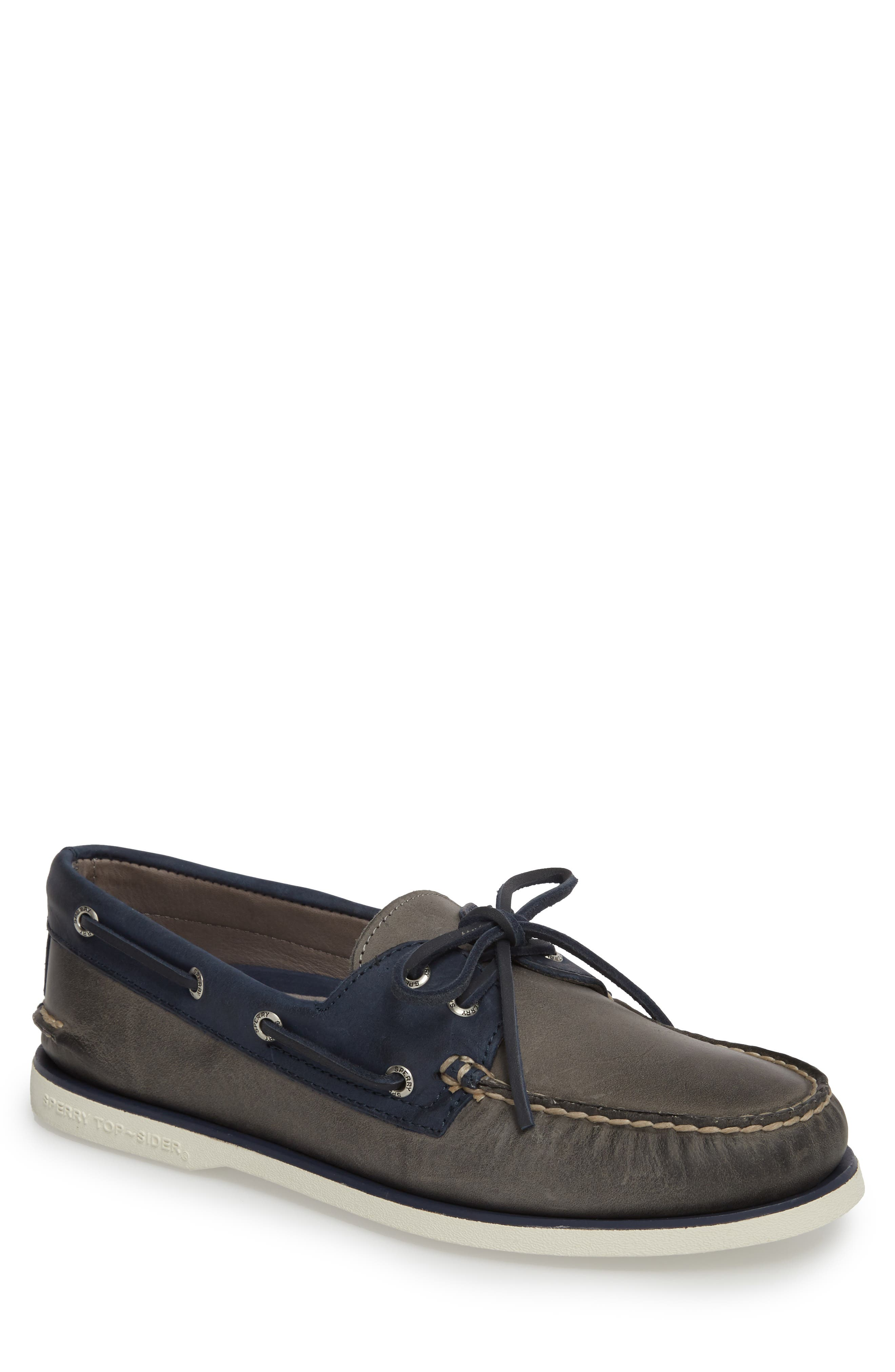 Gold Cup Authentic Original Boat Shoe,                             Main thumbnail 1, color,                             GREY/ NAVY LEATHER