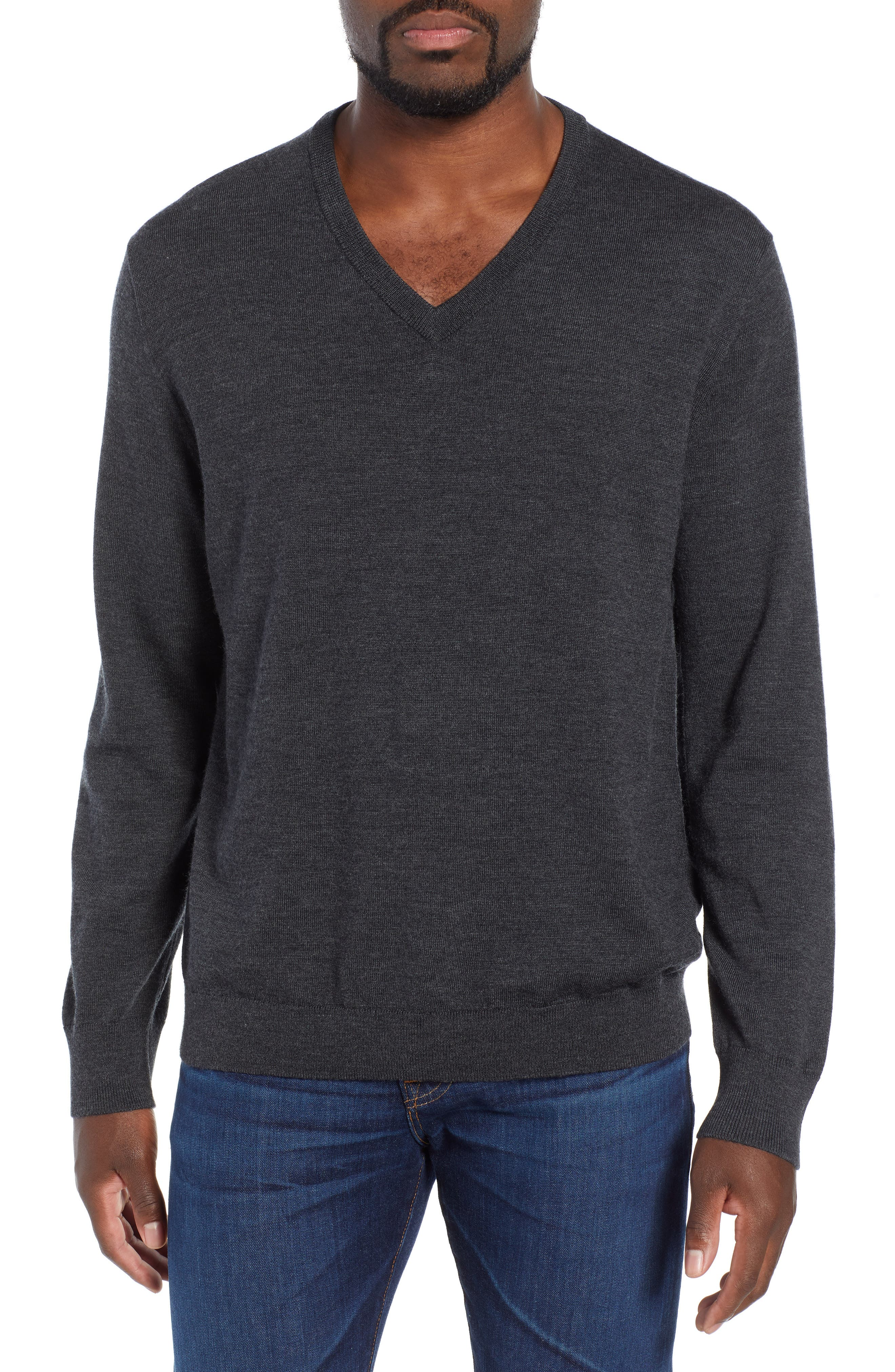 V-Neck Merino Wool Sweater,                         Main,                         color, HEATHER CHARCOAL