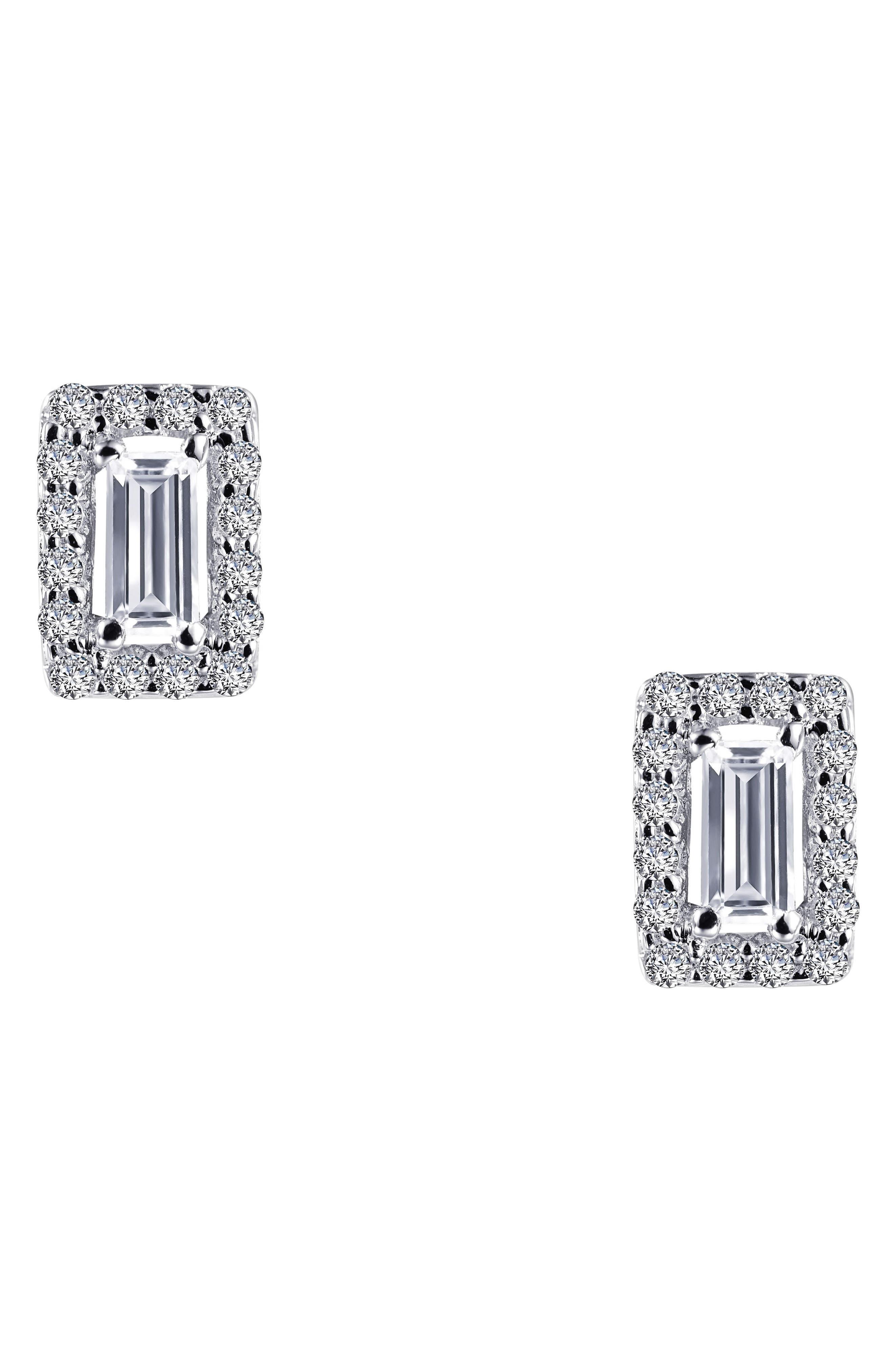 Crystal Baguette Simulated Diamond Stud Earrings,                             Alternate thumbnail 3, color,                             SILVER/ CLEAR