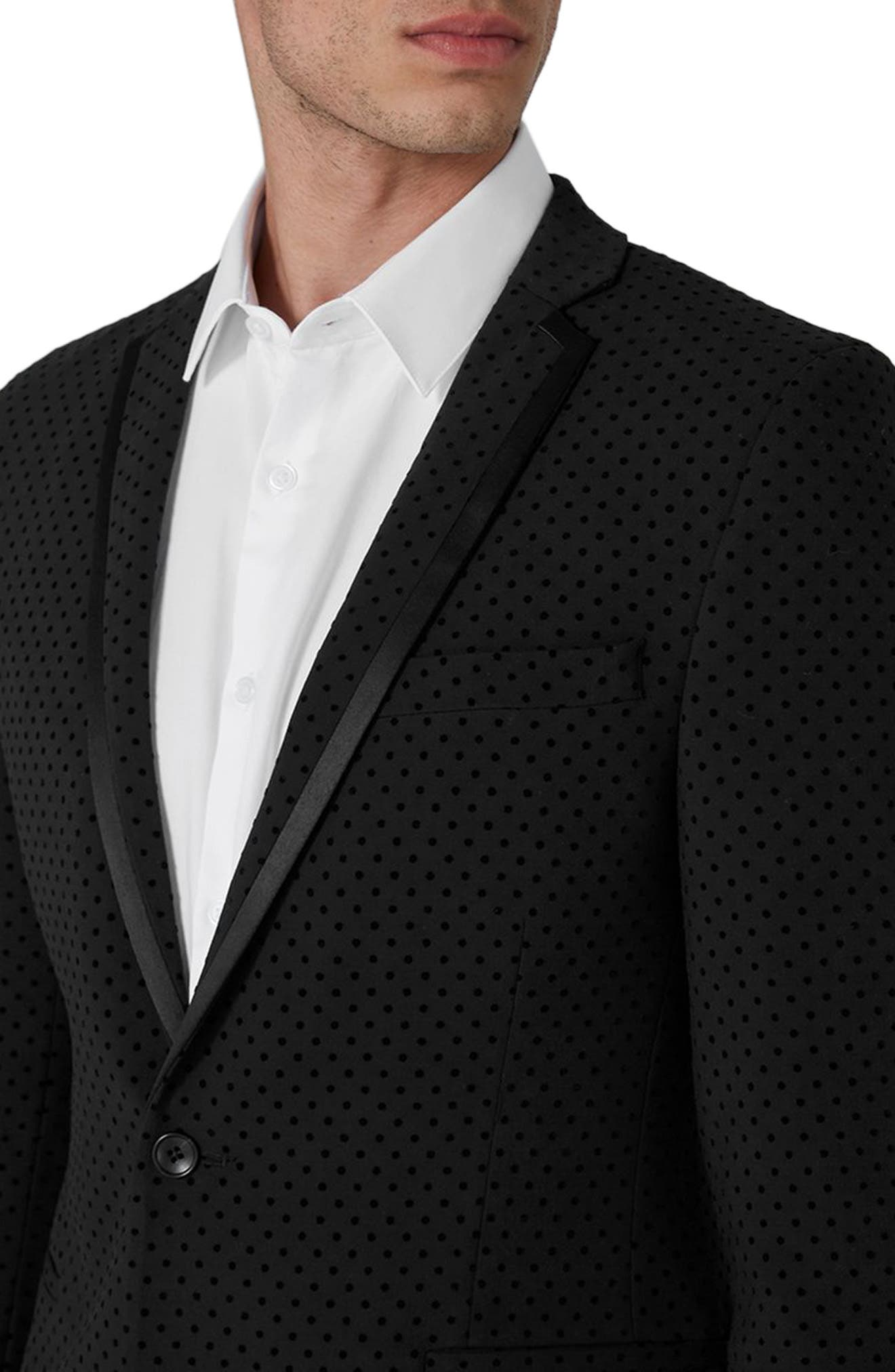 Dotted Ultra Skinny Fit Suit Jacket,                             Alternate thumbnail 3, color,                             001