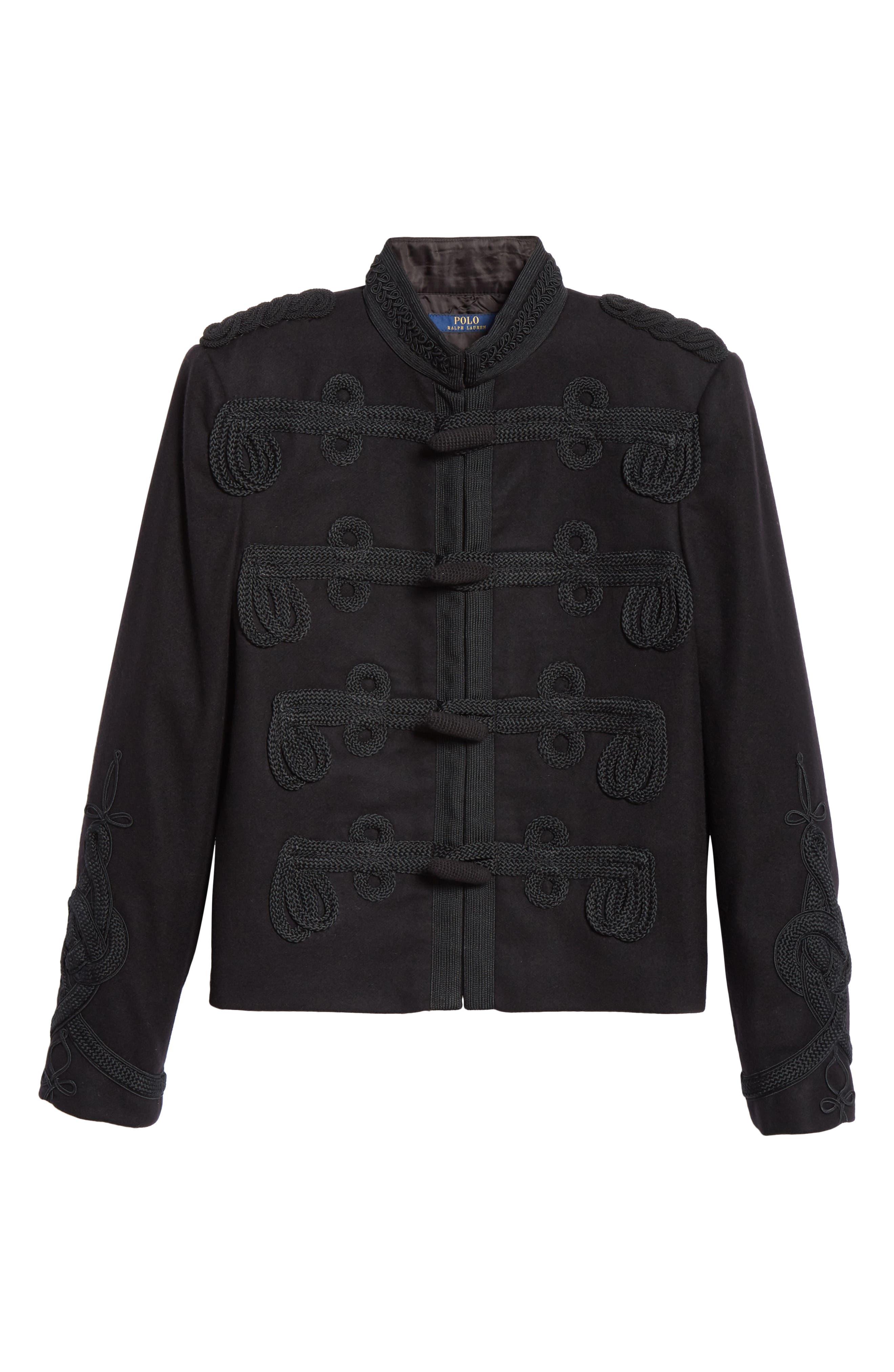Soutache Trim Crop Jacket,                             Alternate thumbnail 5, color,                             POLO BLACK