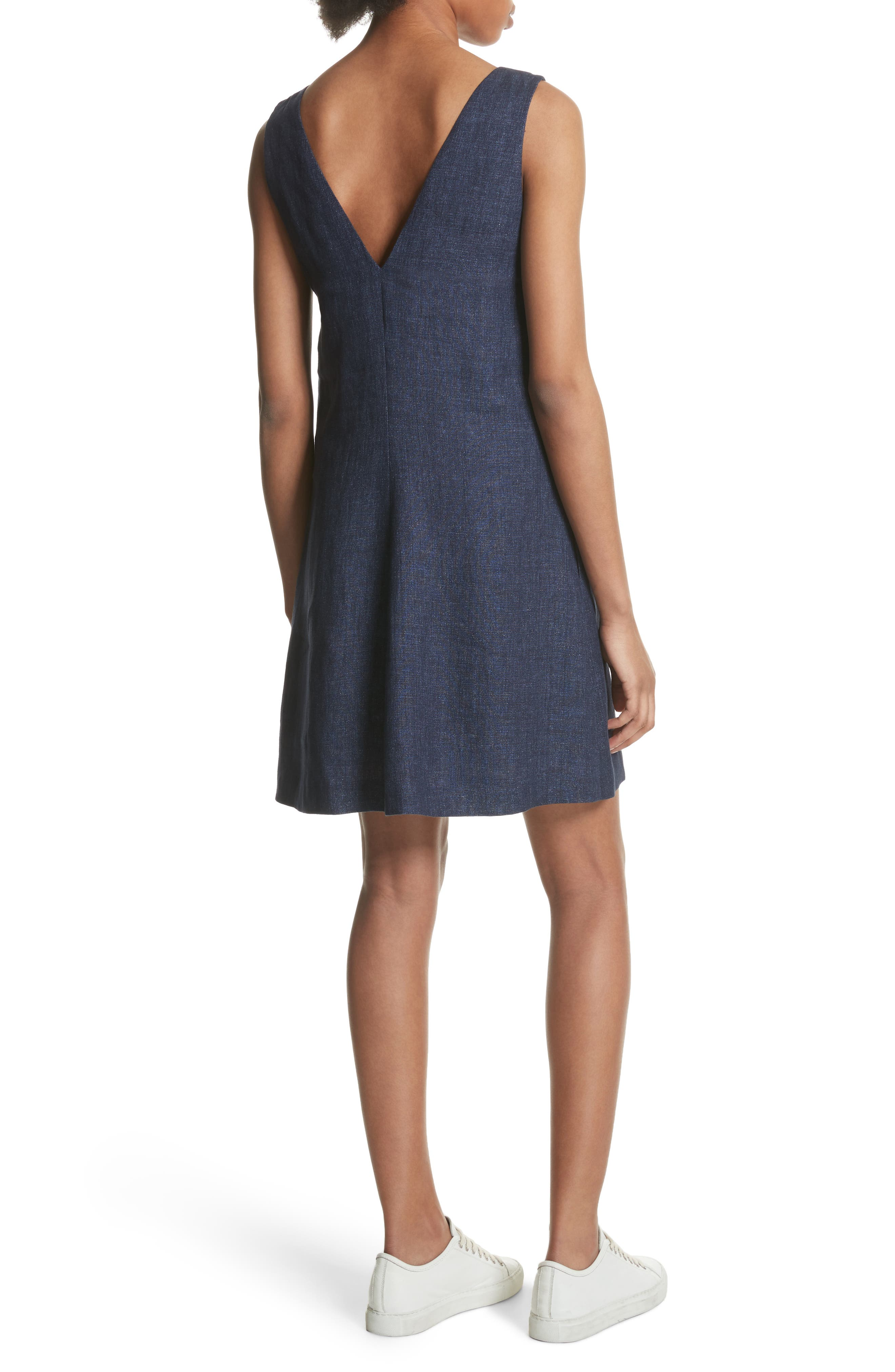 Linen Shift Dress,                             Alternate thumbnail 4, color,