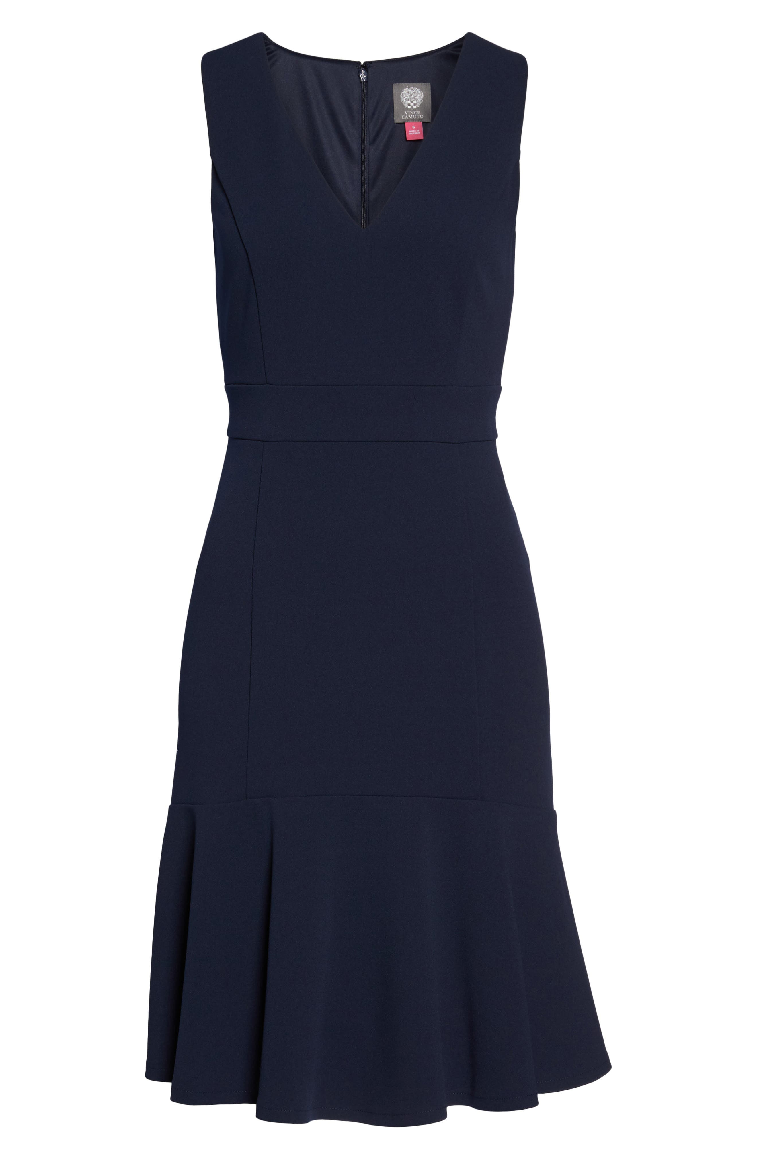 Ruffle Hem Body-Con Dress,                             Alternate thumbnail 7, color,                             NAVY