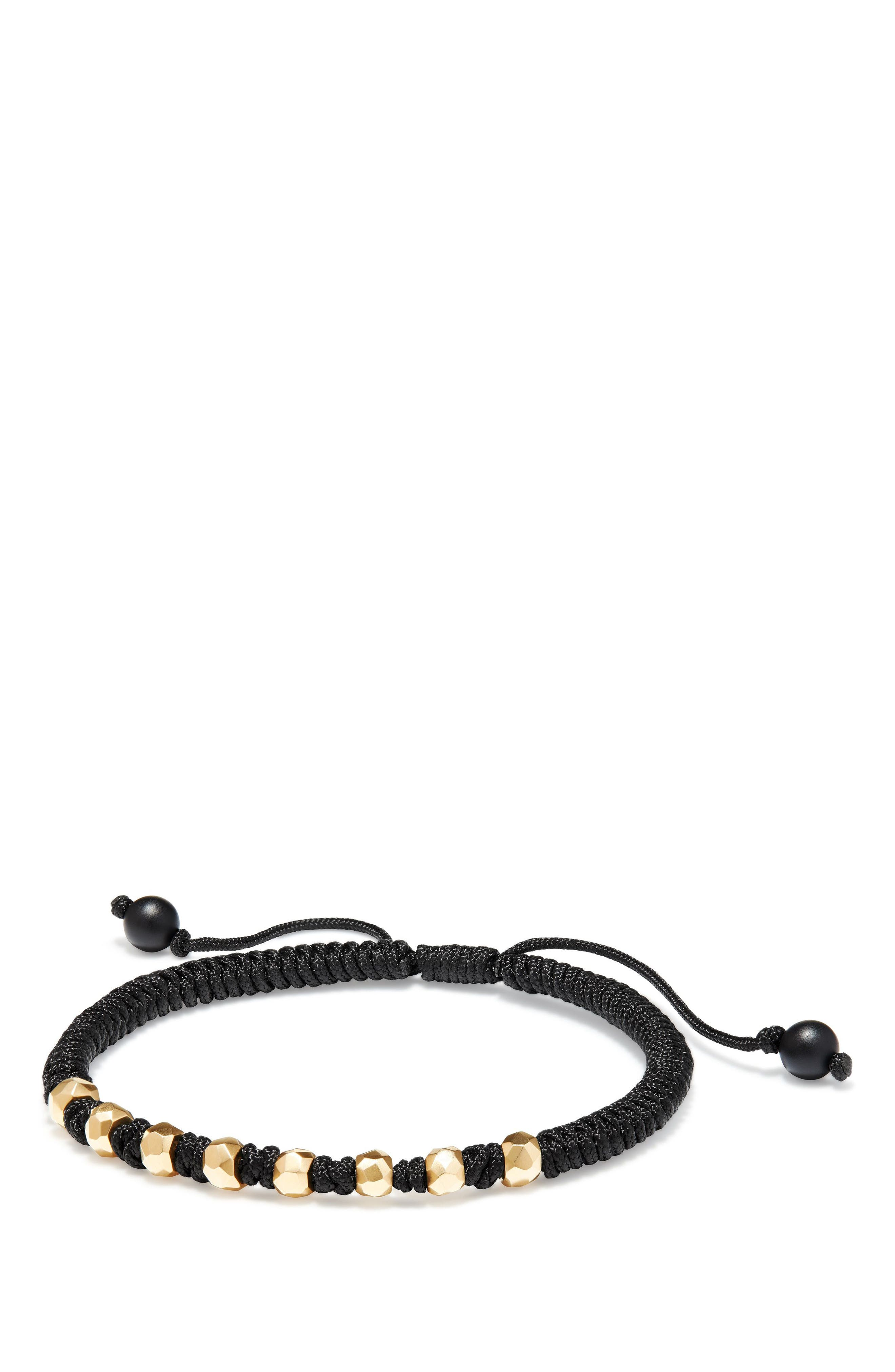 DY Fortune Woven Bracelet with Black Onyx in 18K Gold,                         Main,                         color, BLACK
