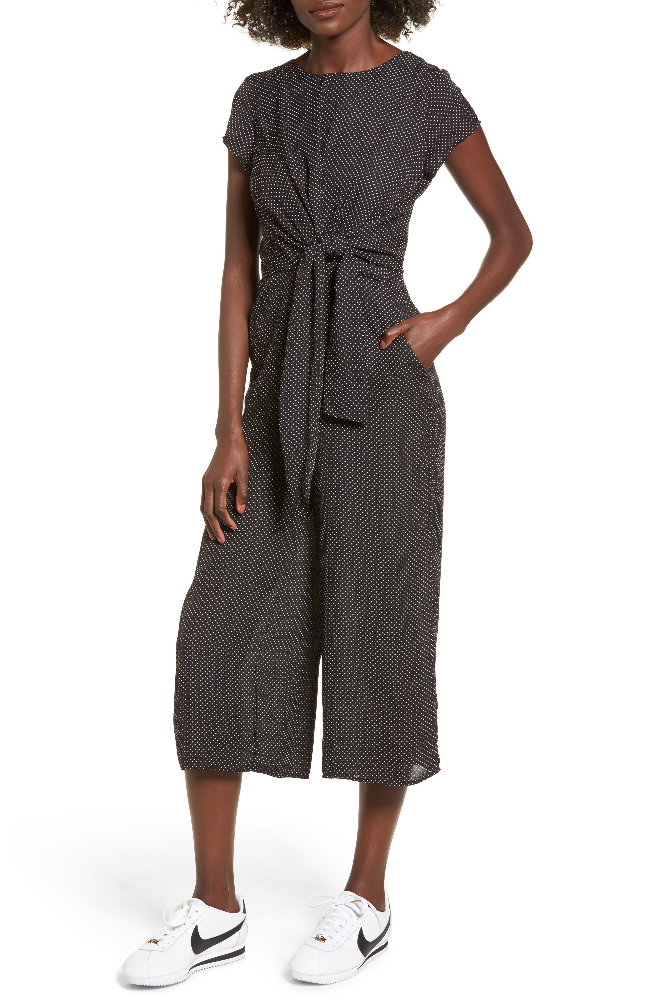 Knotted Wide Leg Jumpsuit,                         Main,                         color, 001