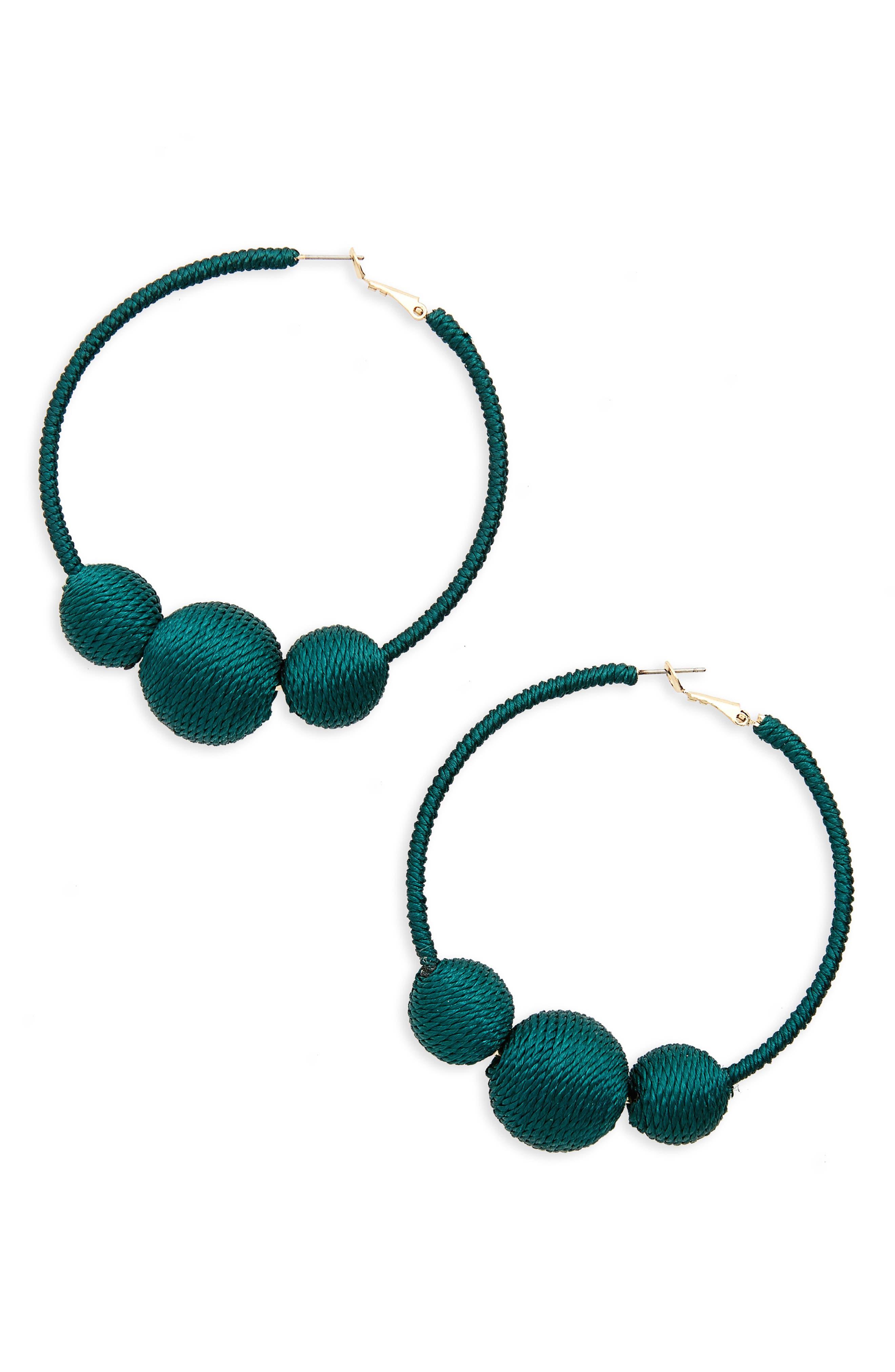 Wrapped Ball Hoop Earrings,                             Main thumbnail 3, color,