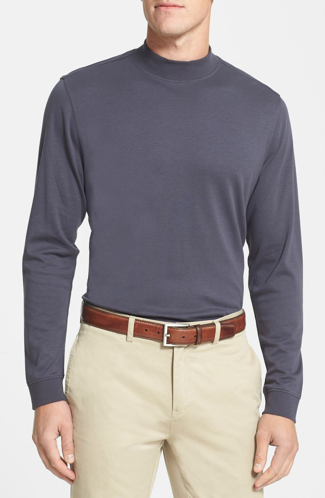 Belfair Long Sleeve Mock Neck Pima Cotton T-Shirt,                         Main,                         color, 051