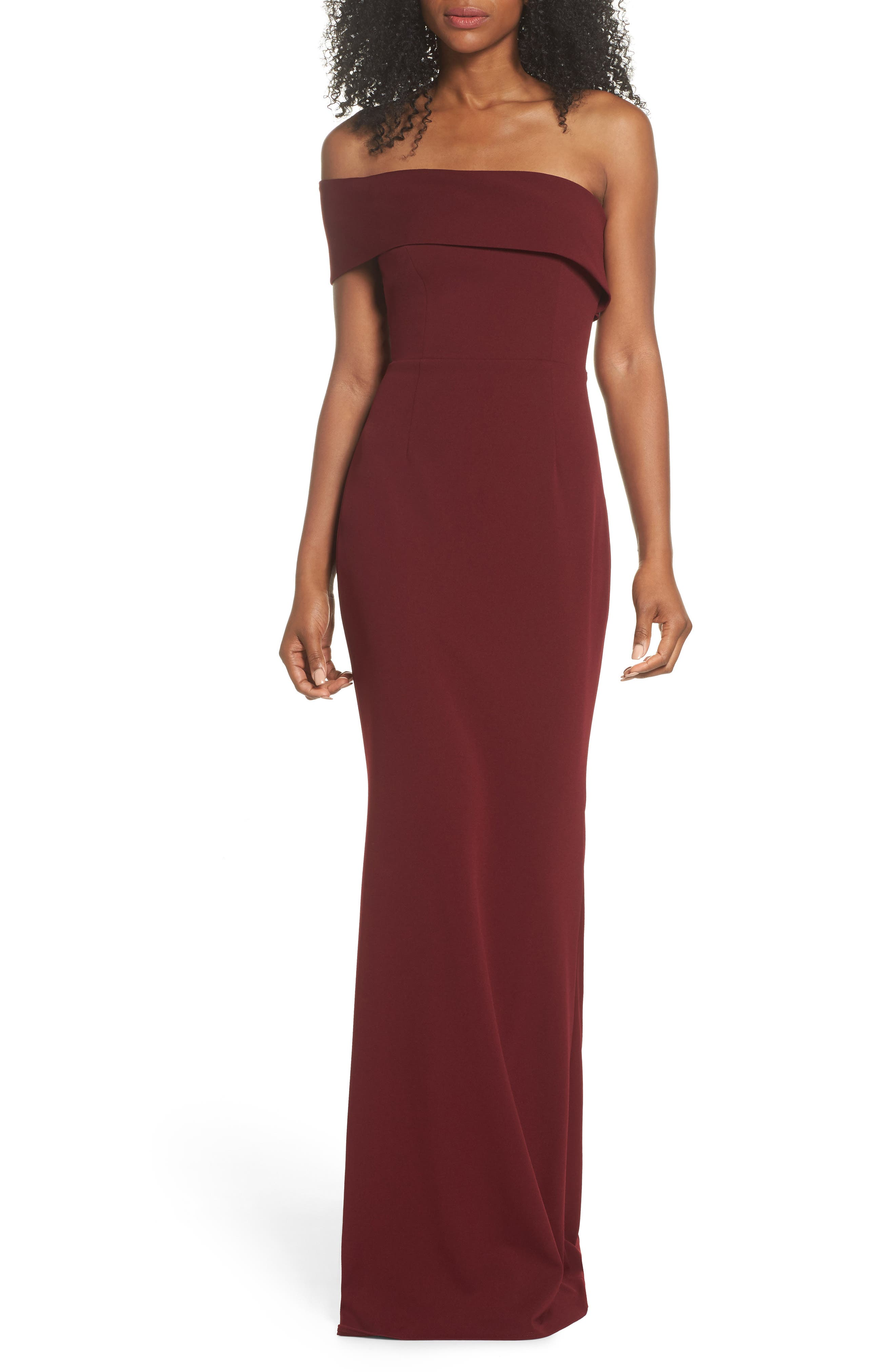 Titan One-Shoulder Cutout Crepe Gown,                             Main thumbnail 1, color,                             BORDEAUX