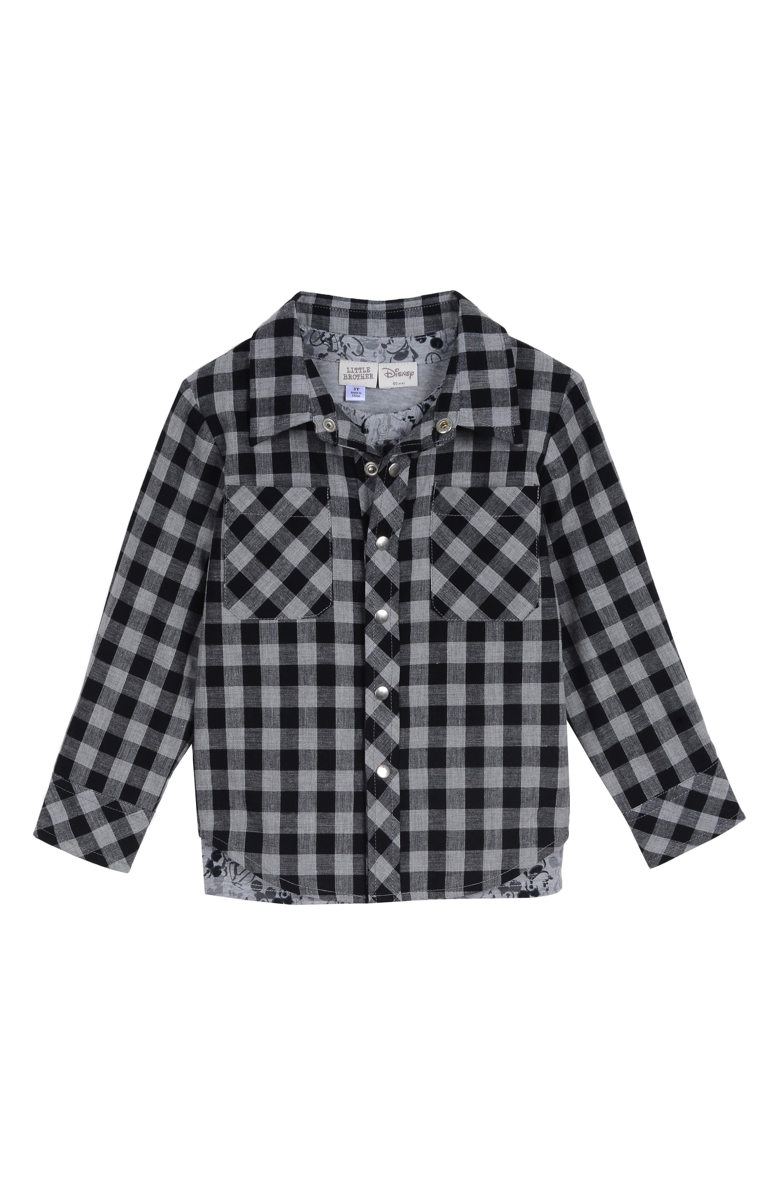 x Disney Plaid Shirt, T-Shirt & Pants Set,                             Alternate thumbnail 4, color,                             BLACK / GREY