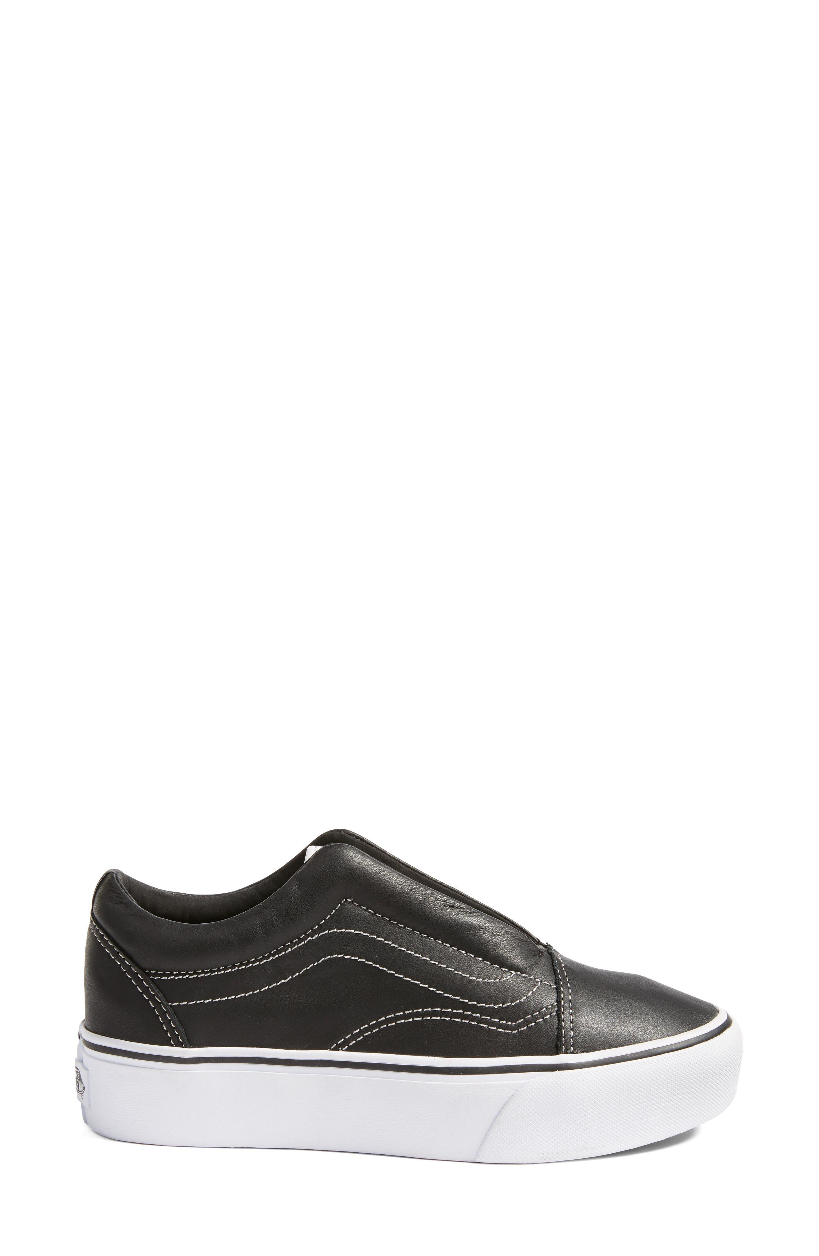 VANS,                             x KARL LAGERFELD Old Skool Leather Platform Sneaker,                             Alternate thumbnail 3, color,                             001