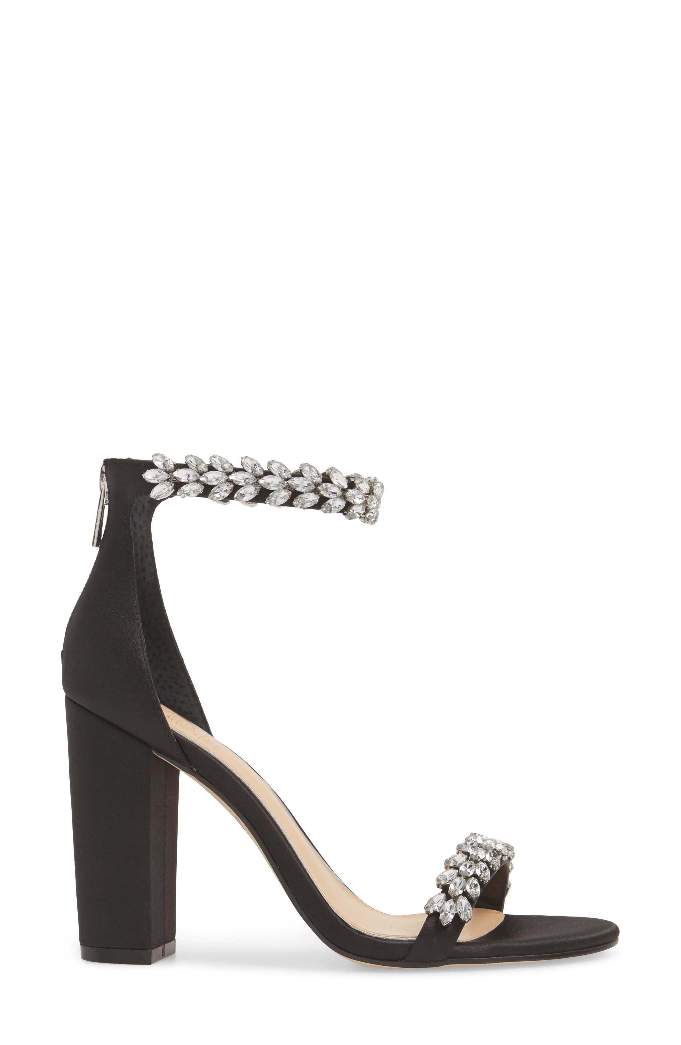 Jewel by Badgley Mischka Mayra Embellished Ankle Strap Sandal,                             Alternate thumbnail 3, color,                             BLACK SATIN