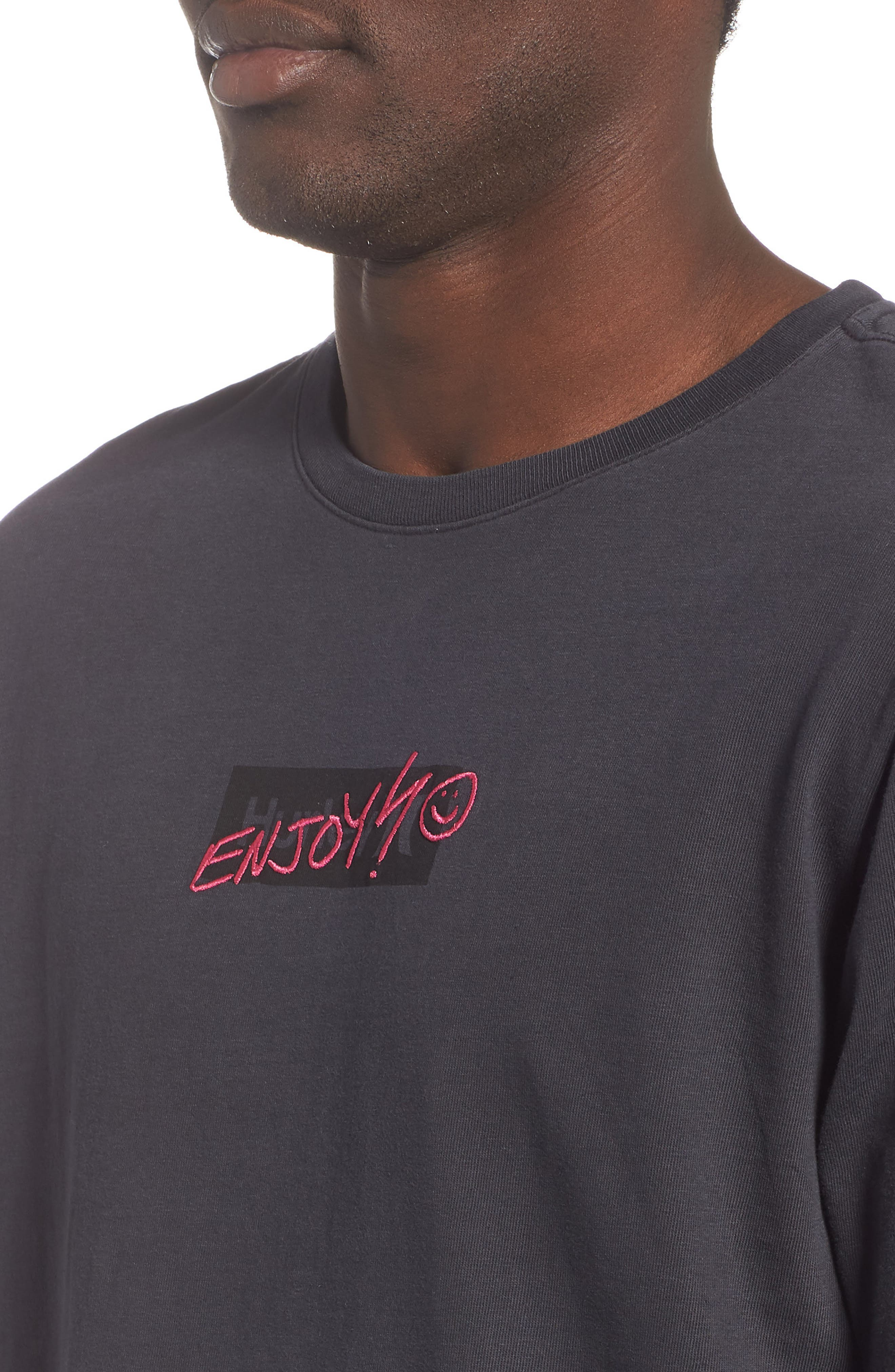 Heavy Enjoy Graphic T-Shirt,                             Alternate thumbnail 4, color,                             ANTHRACITE