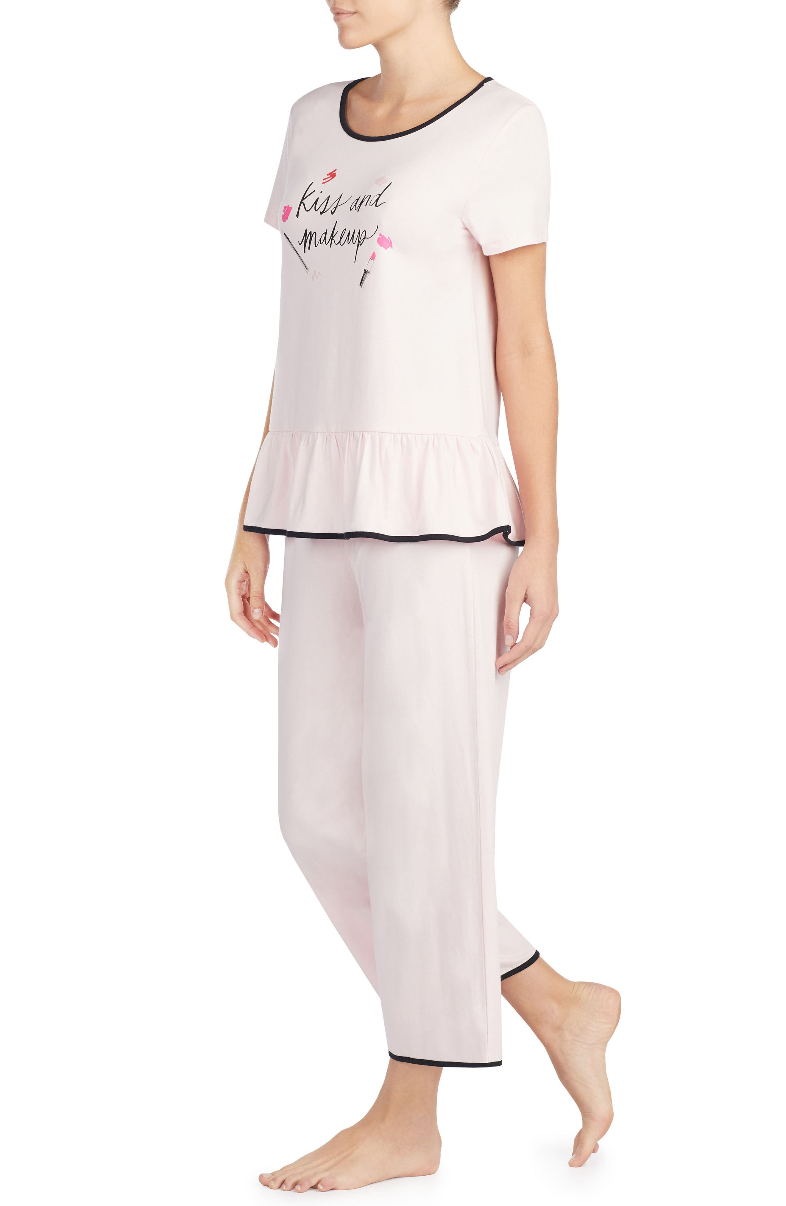 kiss & makeup crop jersey pajamas,                             Alternate thumbnail 3, color,                             690