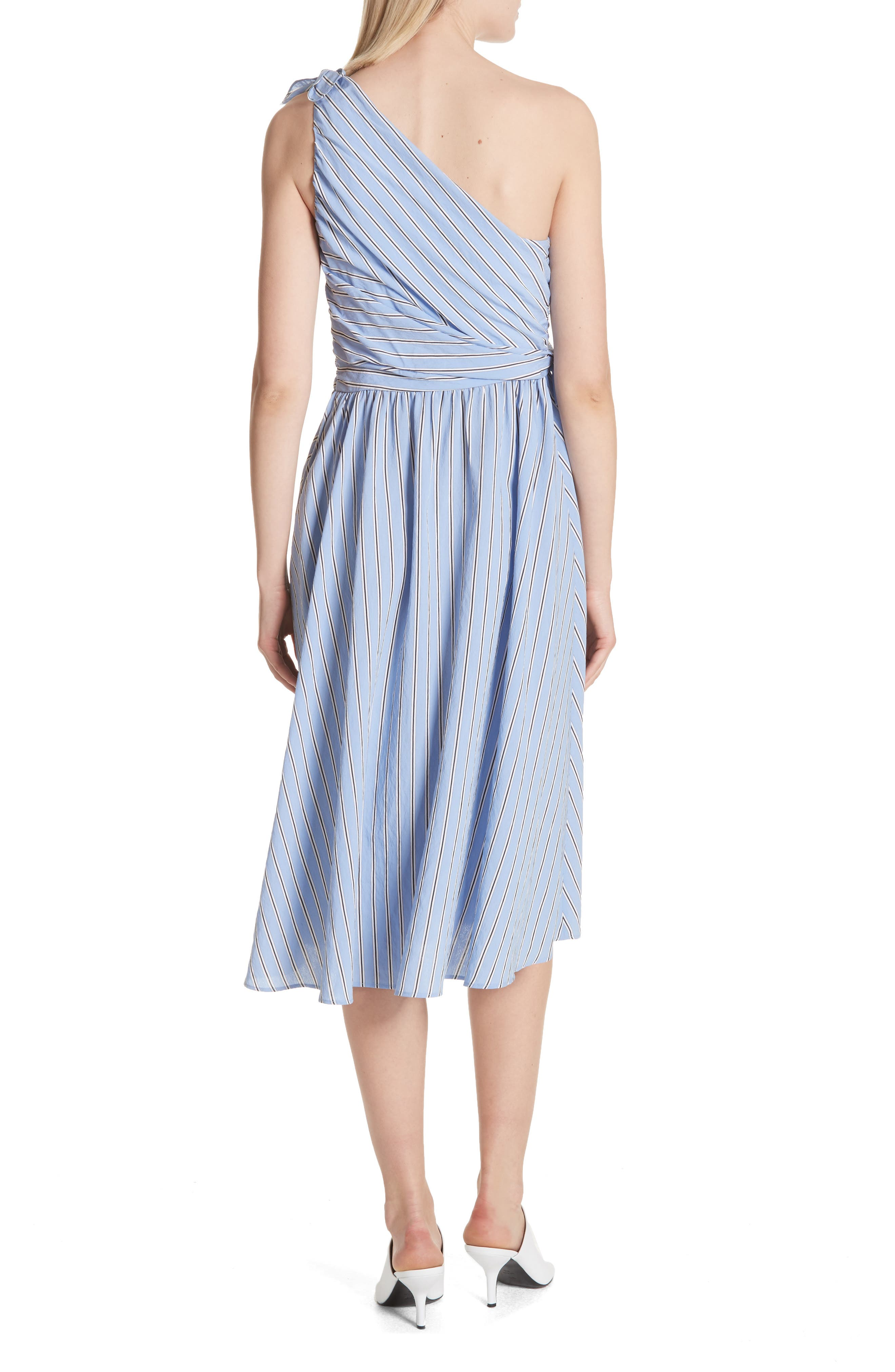 Cabrera Stripe One-Shoulder Dress,                             Alternate thumbnail 2, color,                             420
