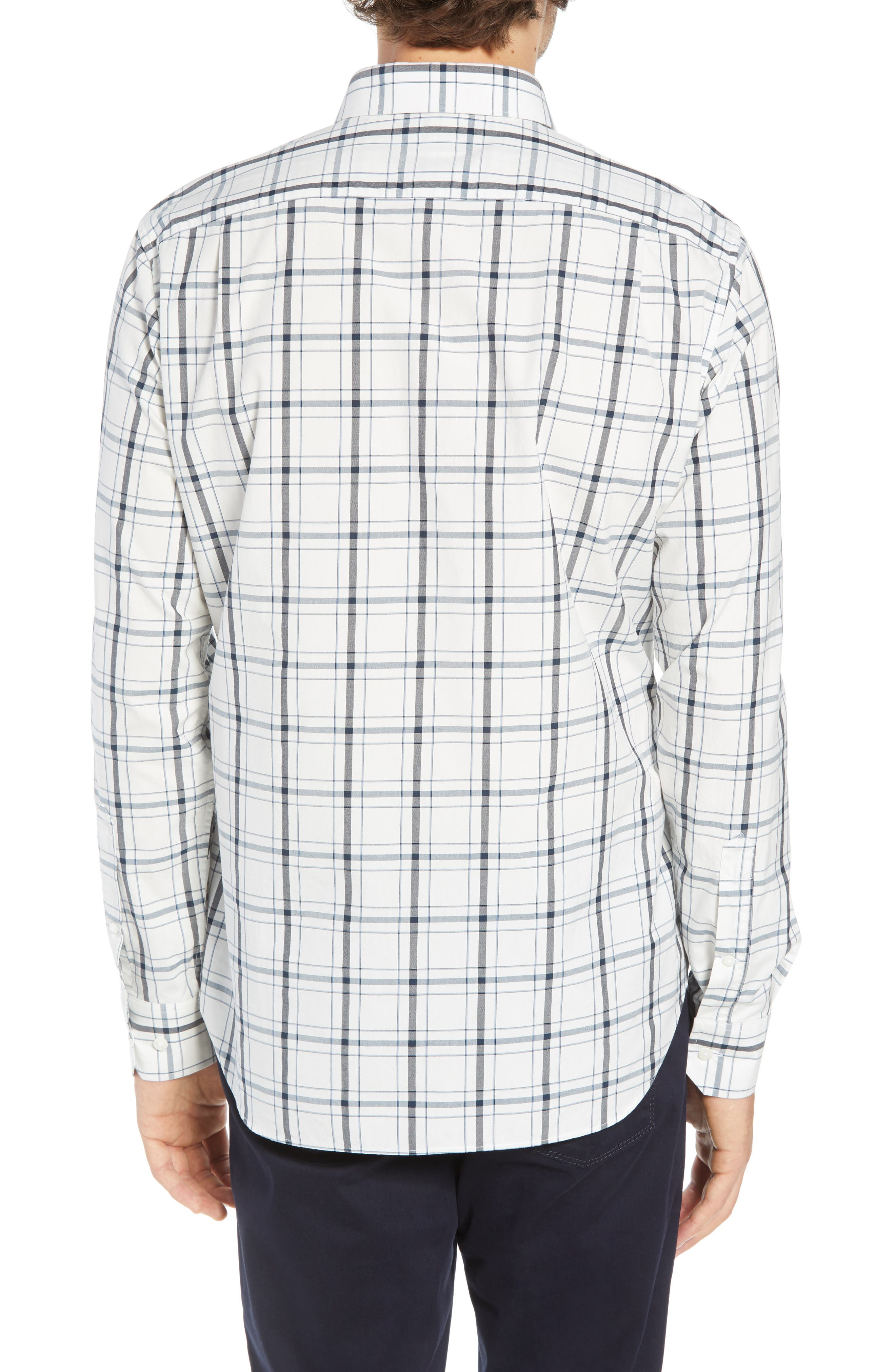 Unbutton Down Slim Fit Plaid Sport Shirt,                             Alternate thumbnail 3, color,                             GOLDHURST PLAID -BLUE JAY
