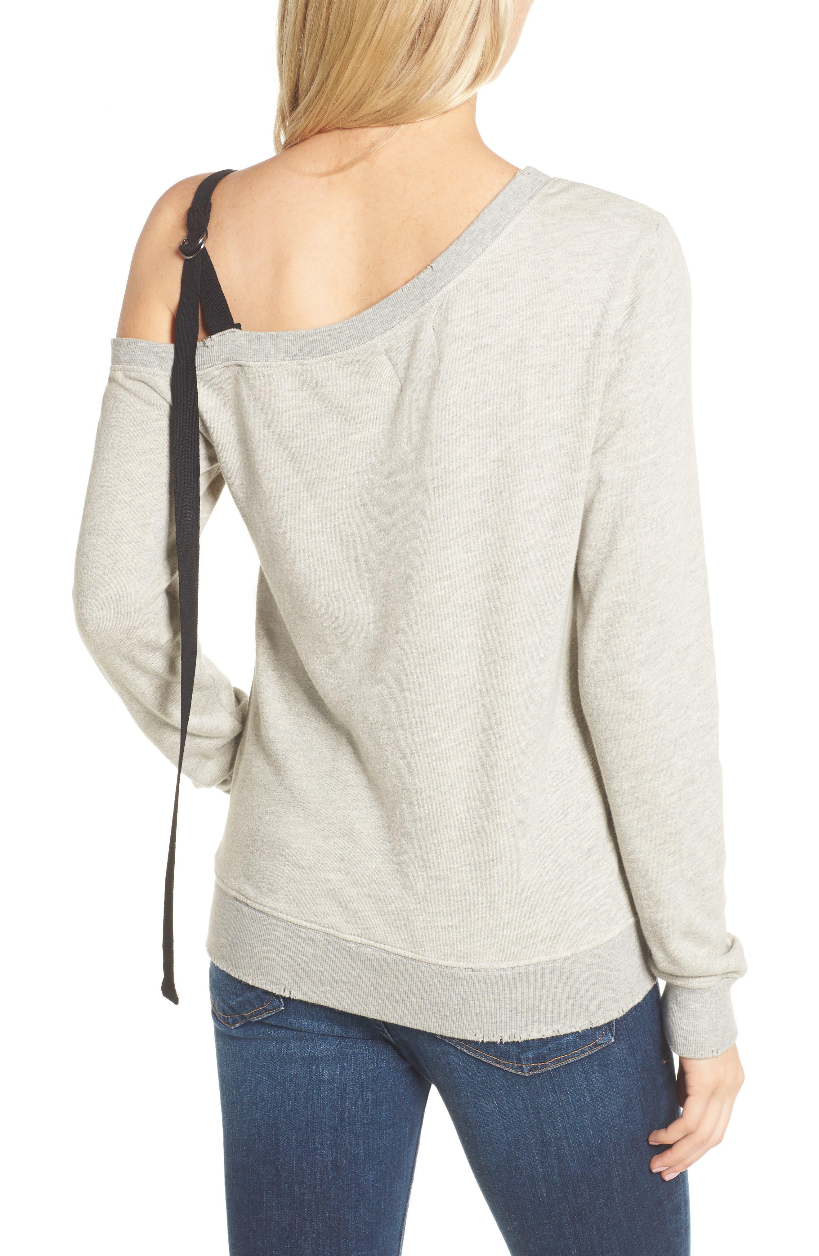One-Shoulder Sweatshirt,                             Alternate thumbnail 2, color,