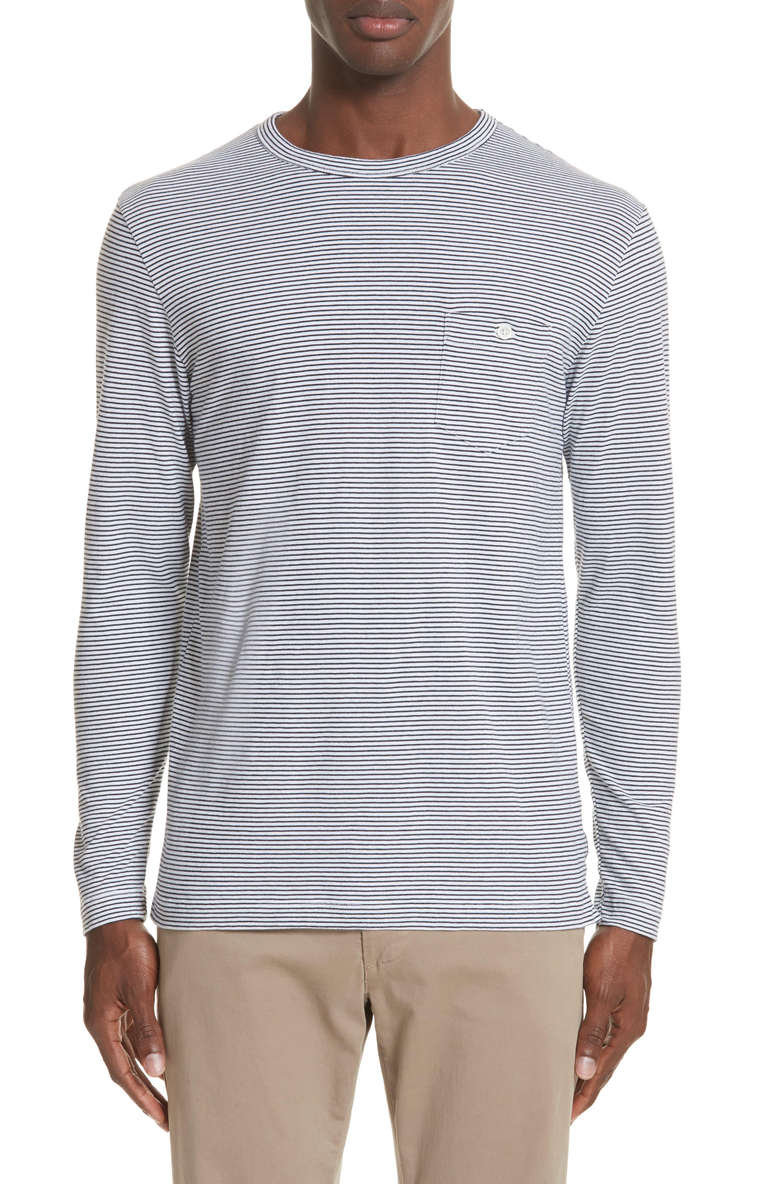 Stripe Long Sleeve T-Shirt,                             Main thumbnail 1, color,                             NAVY