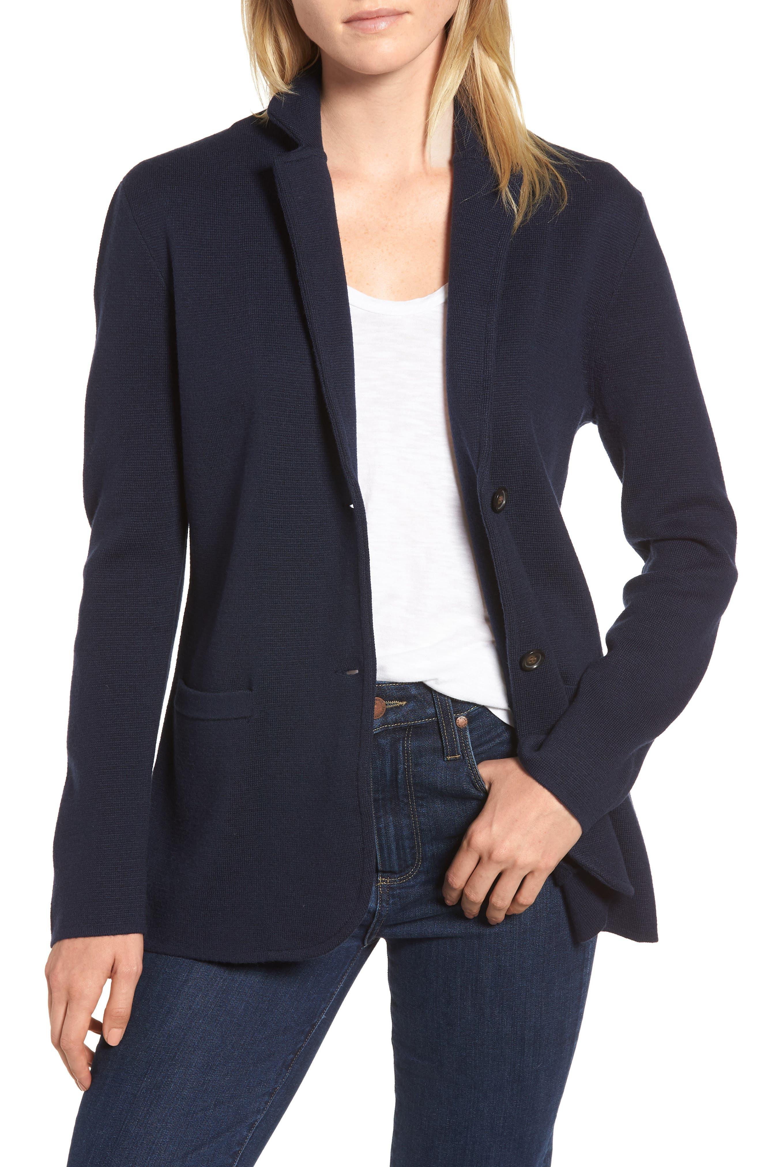 Merino Sweater Blazer,                         Main,                         color, NAVY