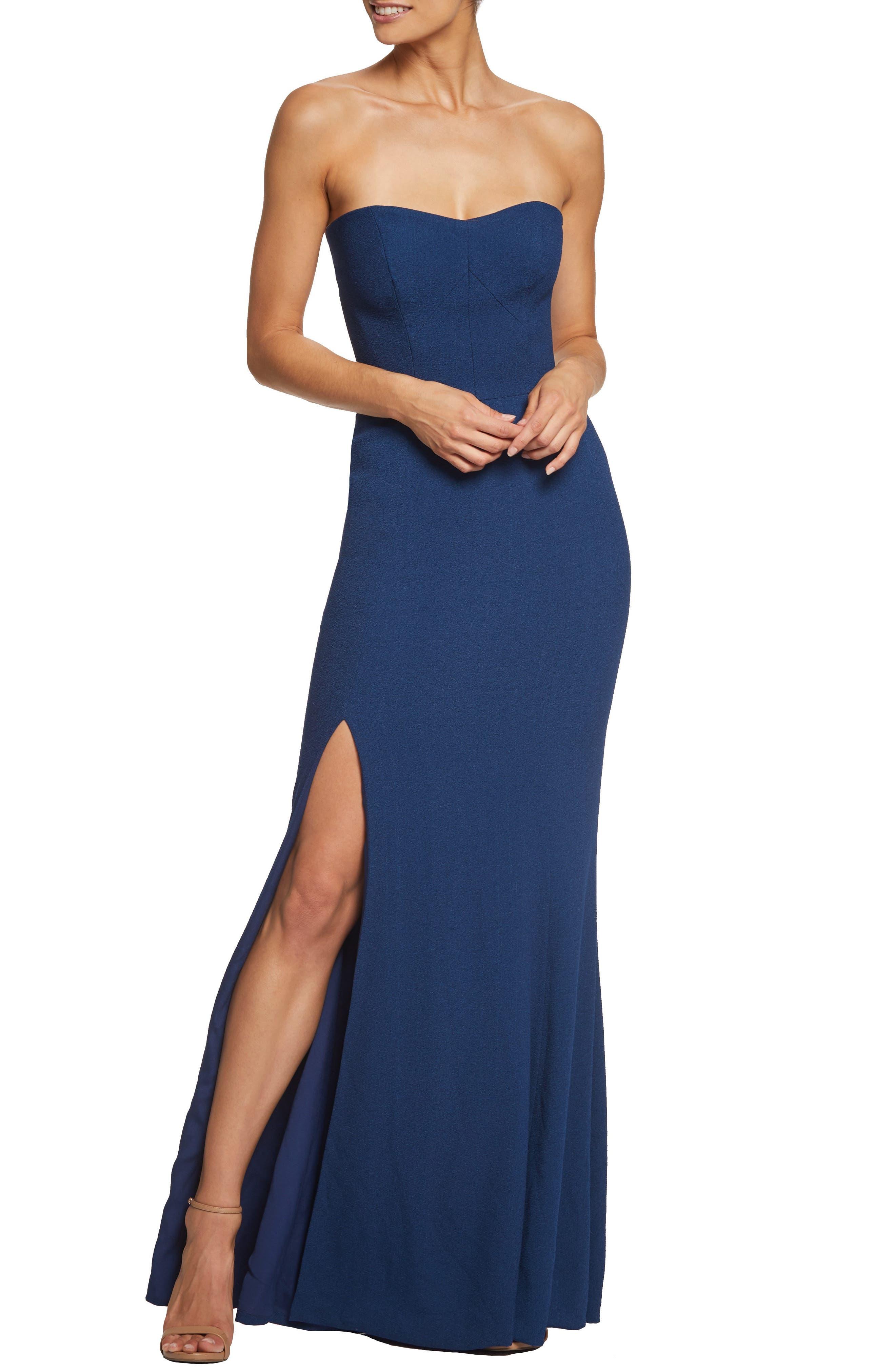 Dress The Population Ellen Strapless Gown, Blue