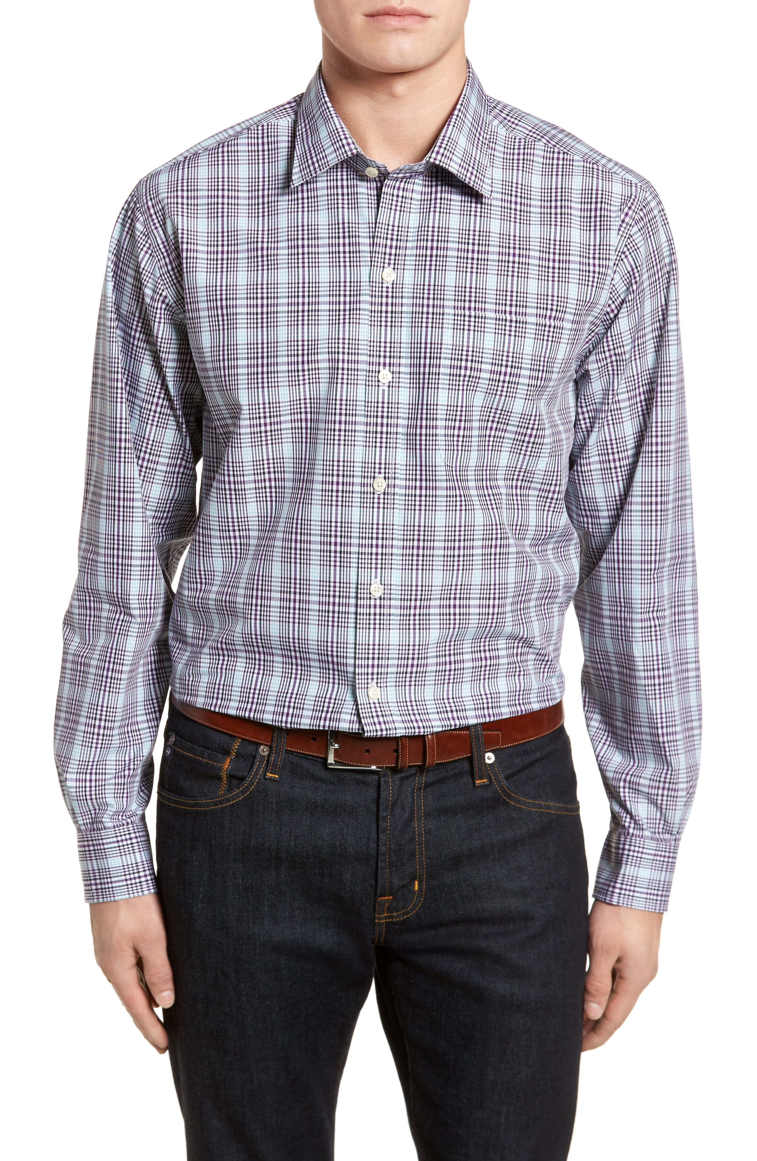 Hoyt Non-Iron Plaid Sport Shirt,                             Main thumbnail 1, color,                             522