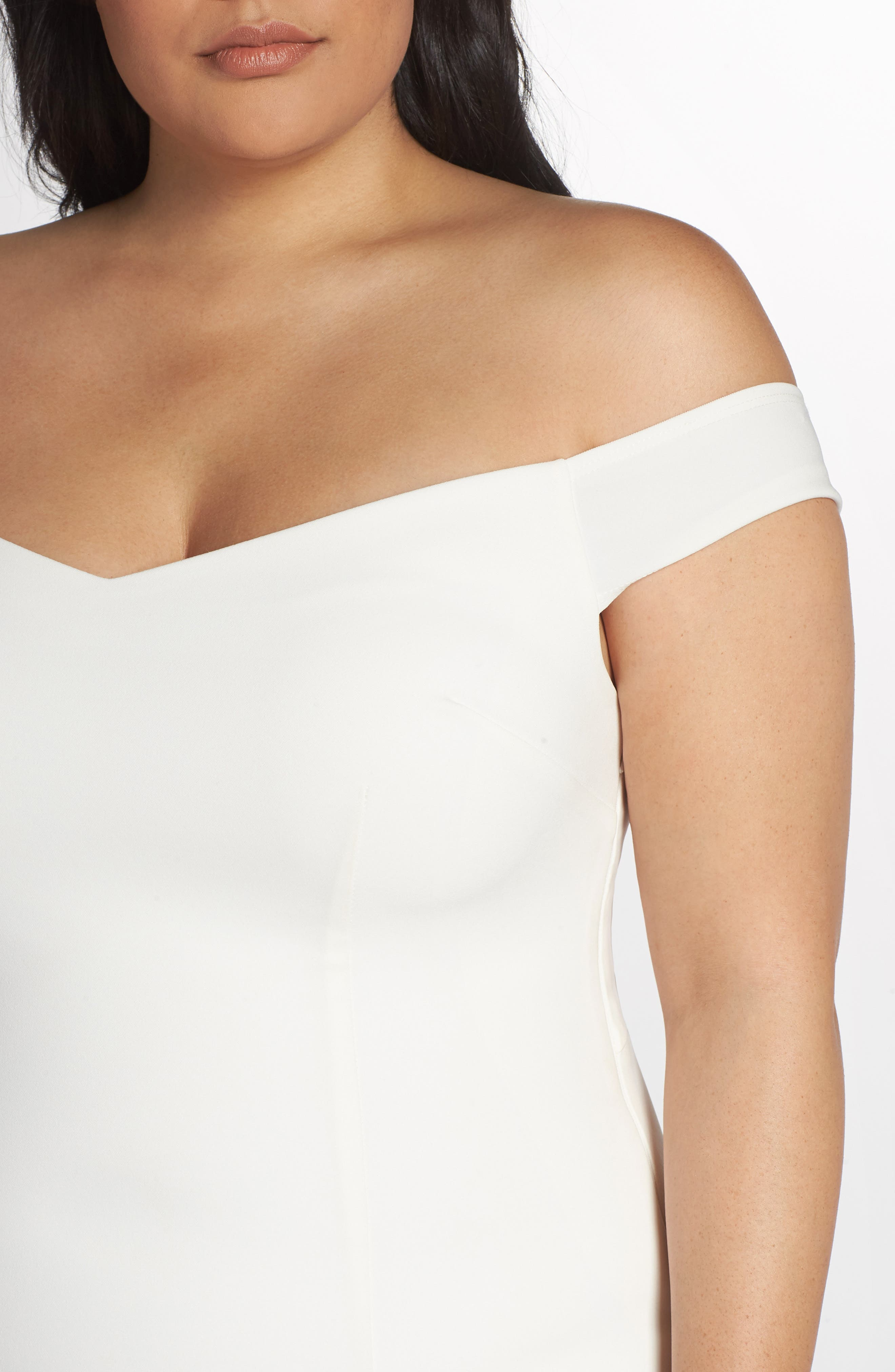 NOEL AND JEAN BY KATIE MAY,                             Alpha Off the Shoulder Dress,                             Alternate thumbnail 4, color,                             IVORY