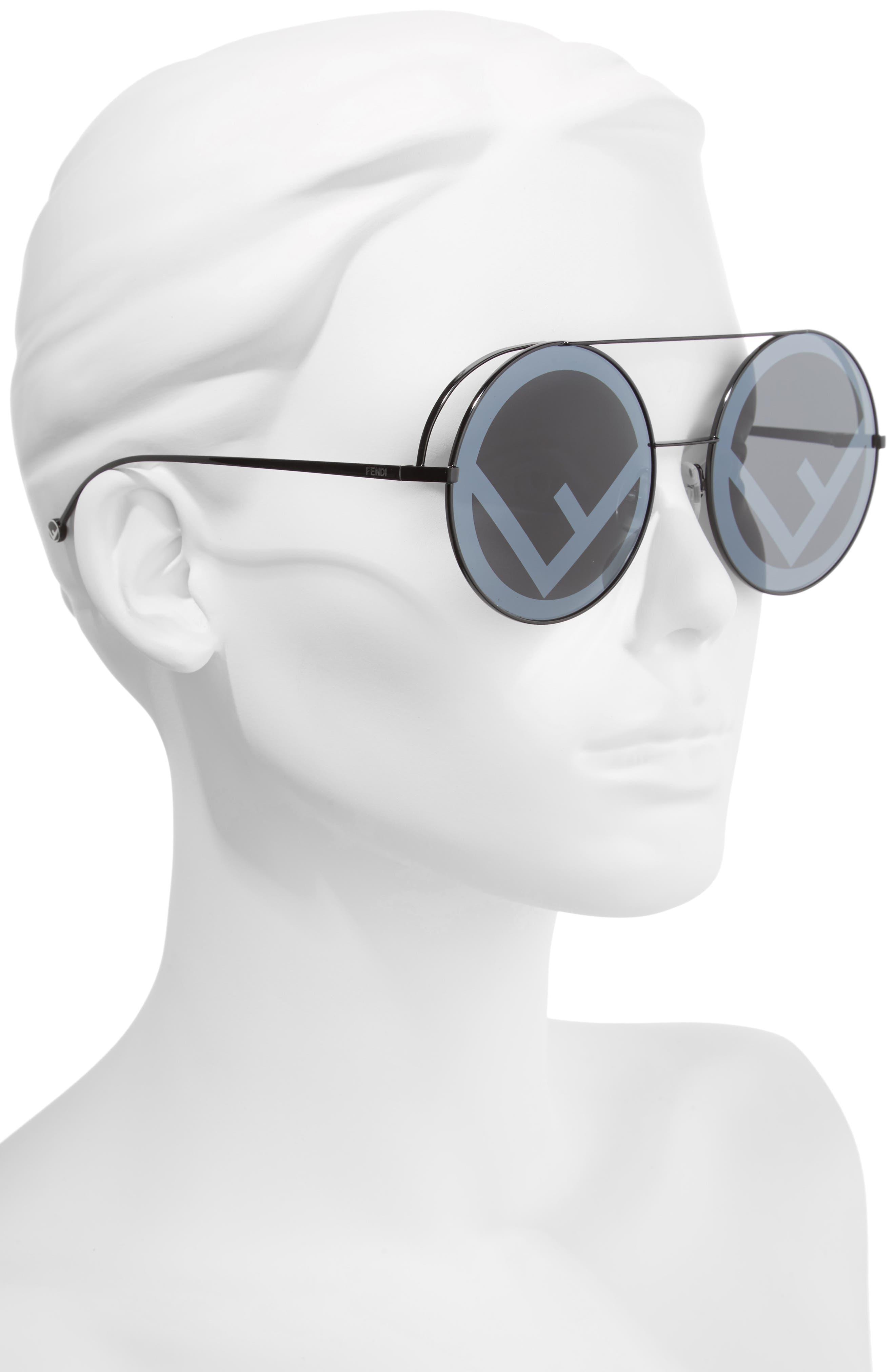 Run Away 63mm Round Sunglasses,                             Alternate thumbnail 2, color,                             BLACK