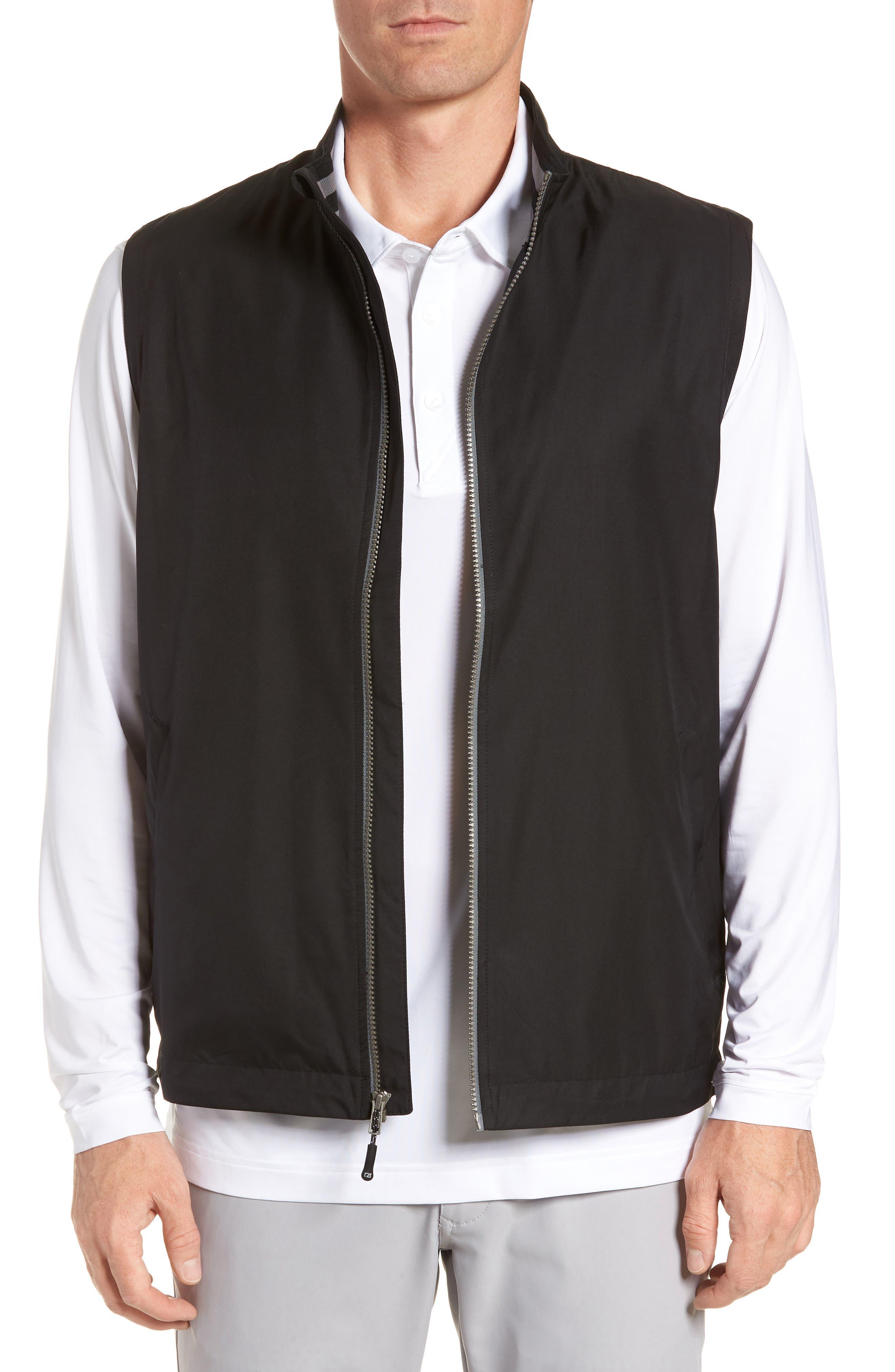 Cutter & Buck Nine Iron Drytec Zip Vest, Black