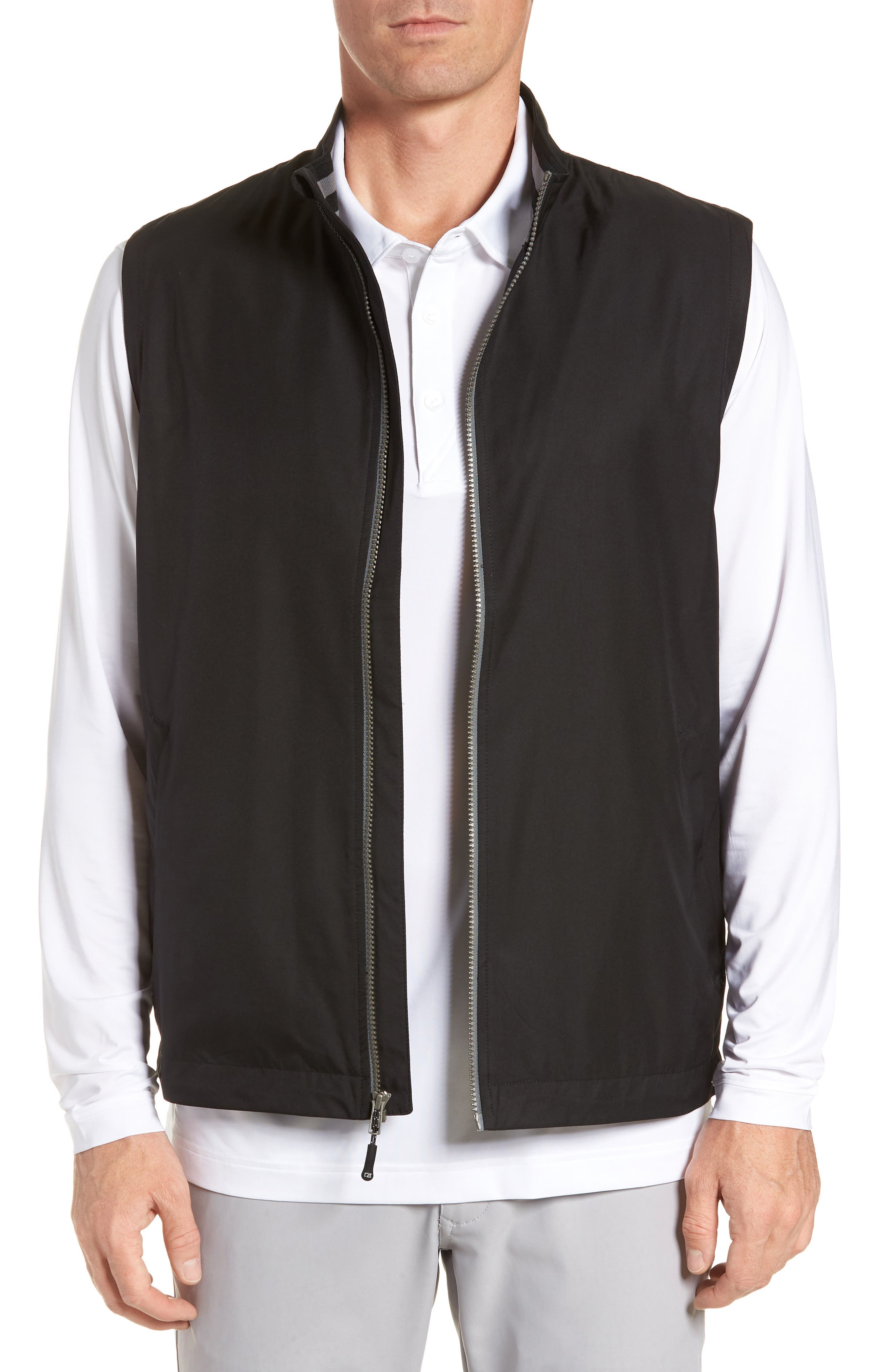 Nine Iron DryTec Zip Vest,                             Main thumbnail 1, color,                             BLACK