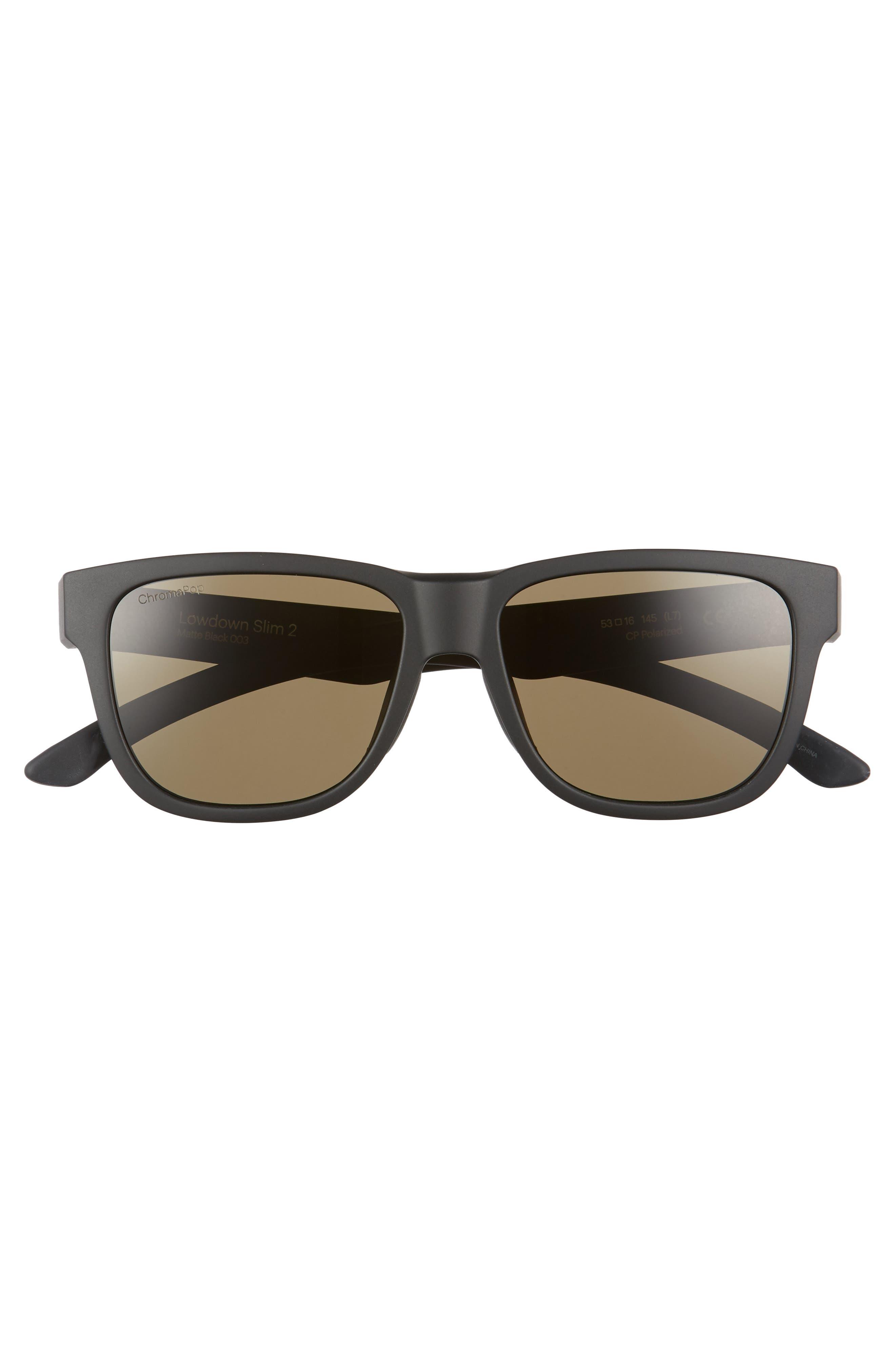 Lowdown Slim 2 53mm ChromaPop<sup>™</sup> Square Sunglasses,                             Alternate thumbnail 3, color,                             MATTE BLACK