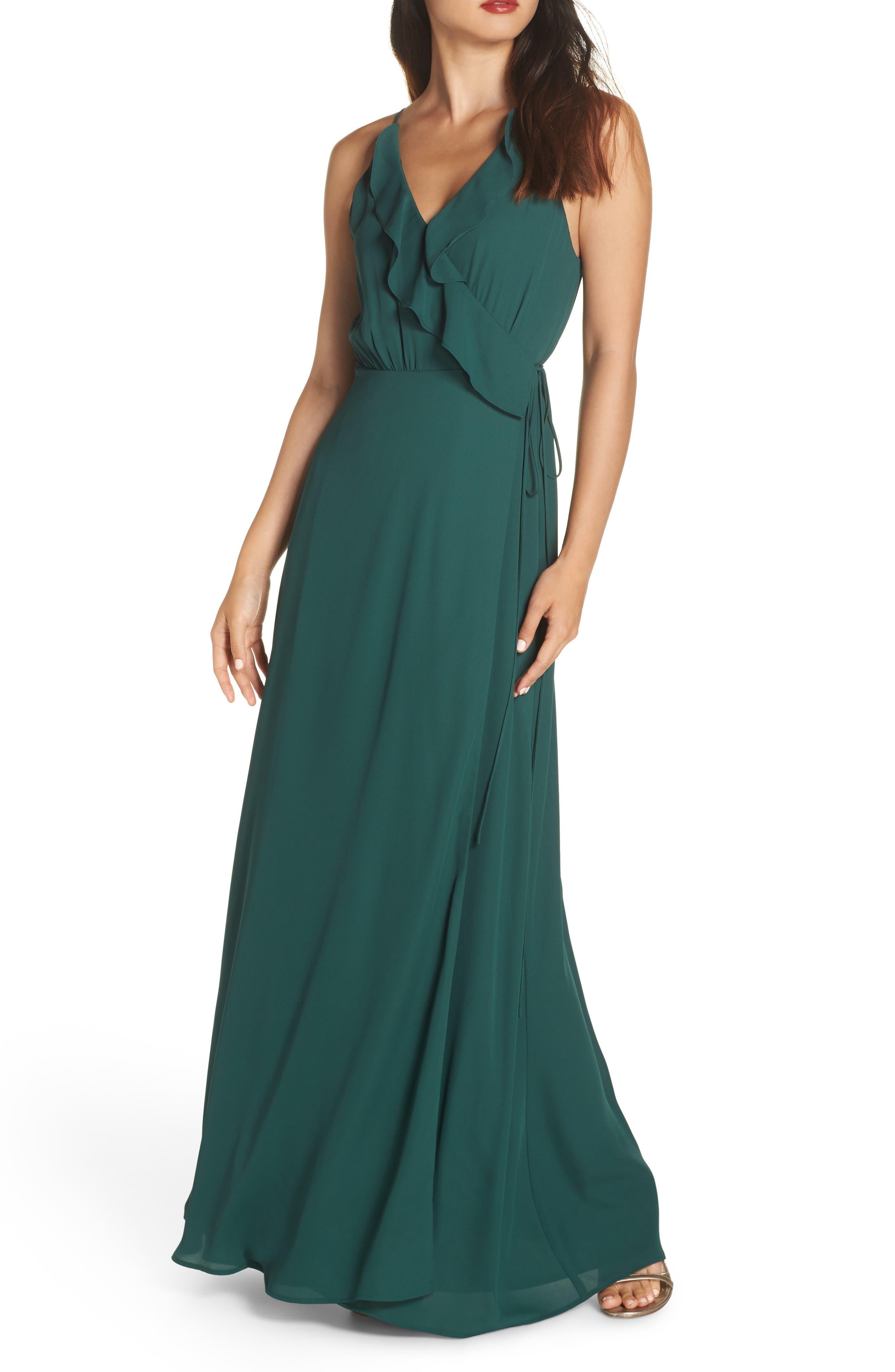 Wayf Jamie Ruffle Wrap Gown, Green