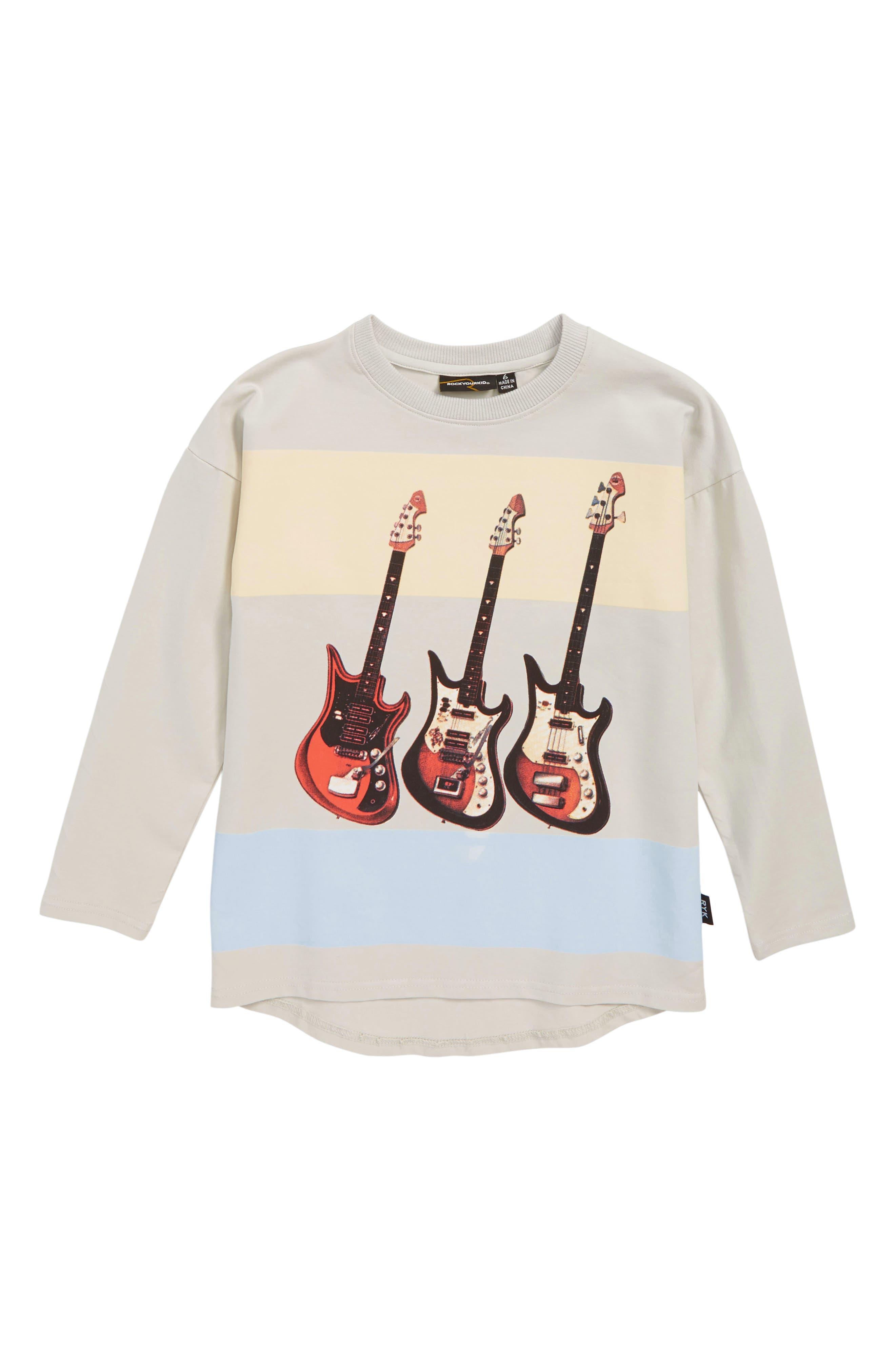 Guitar Licks T-Shirt,                             Main thumbnail 1, color,                             LIGHT GREY