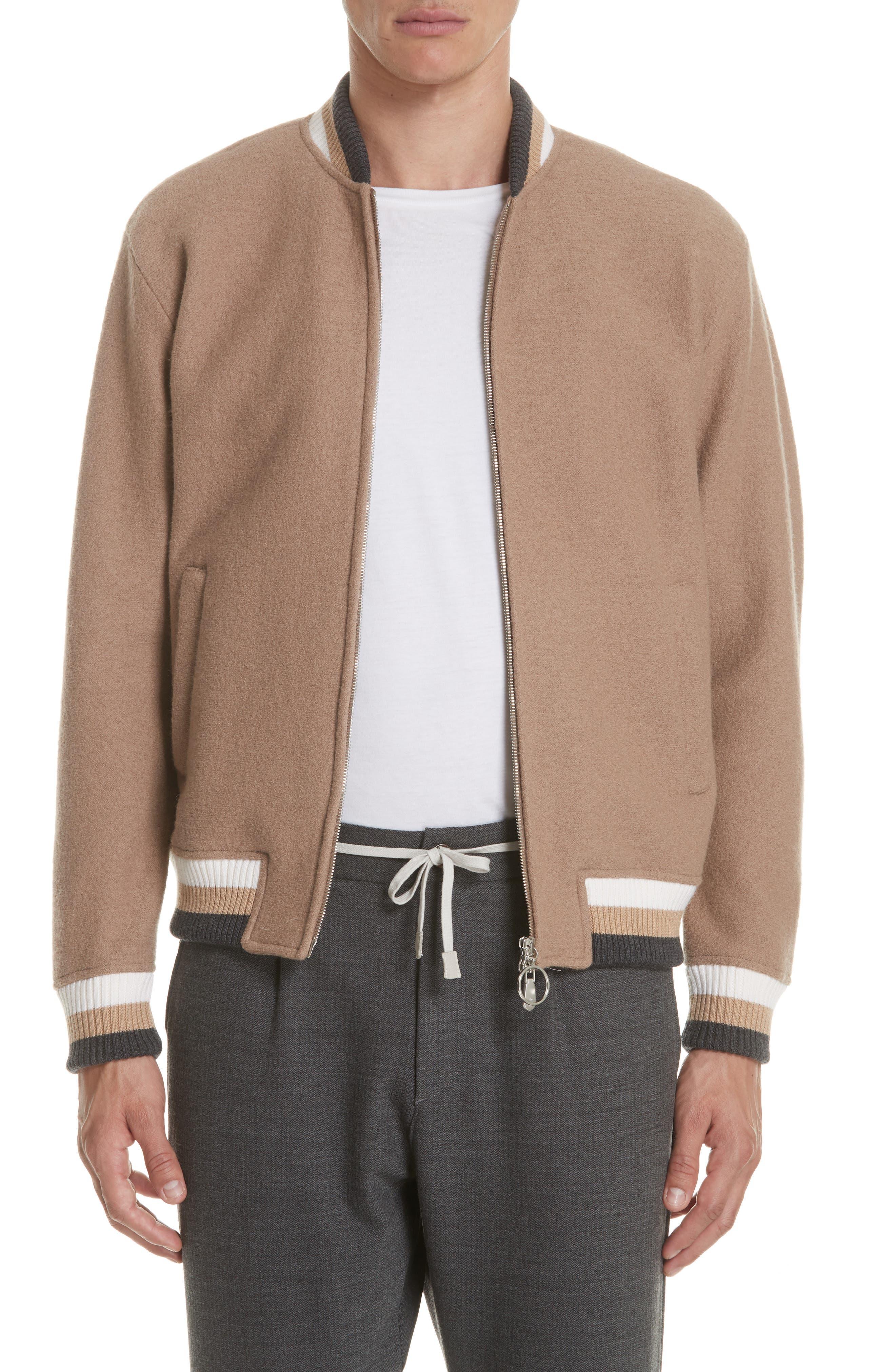 Wool Bomber Jacket,                         Main,                         color, CAMEL