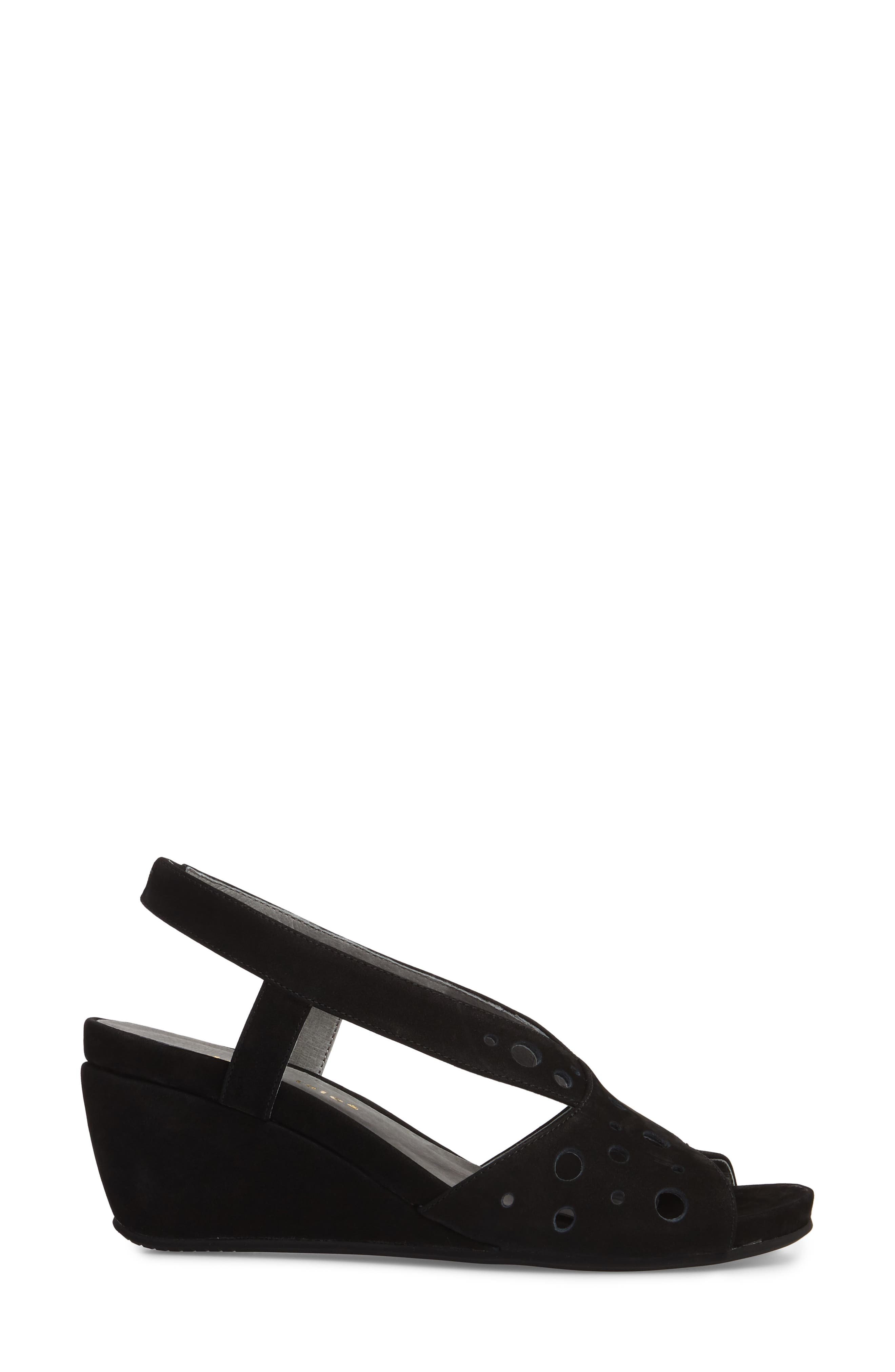 Yummy Wedge,                             Alternate thumbnail 3, color,                             BLACK NUBUCK