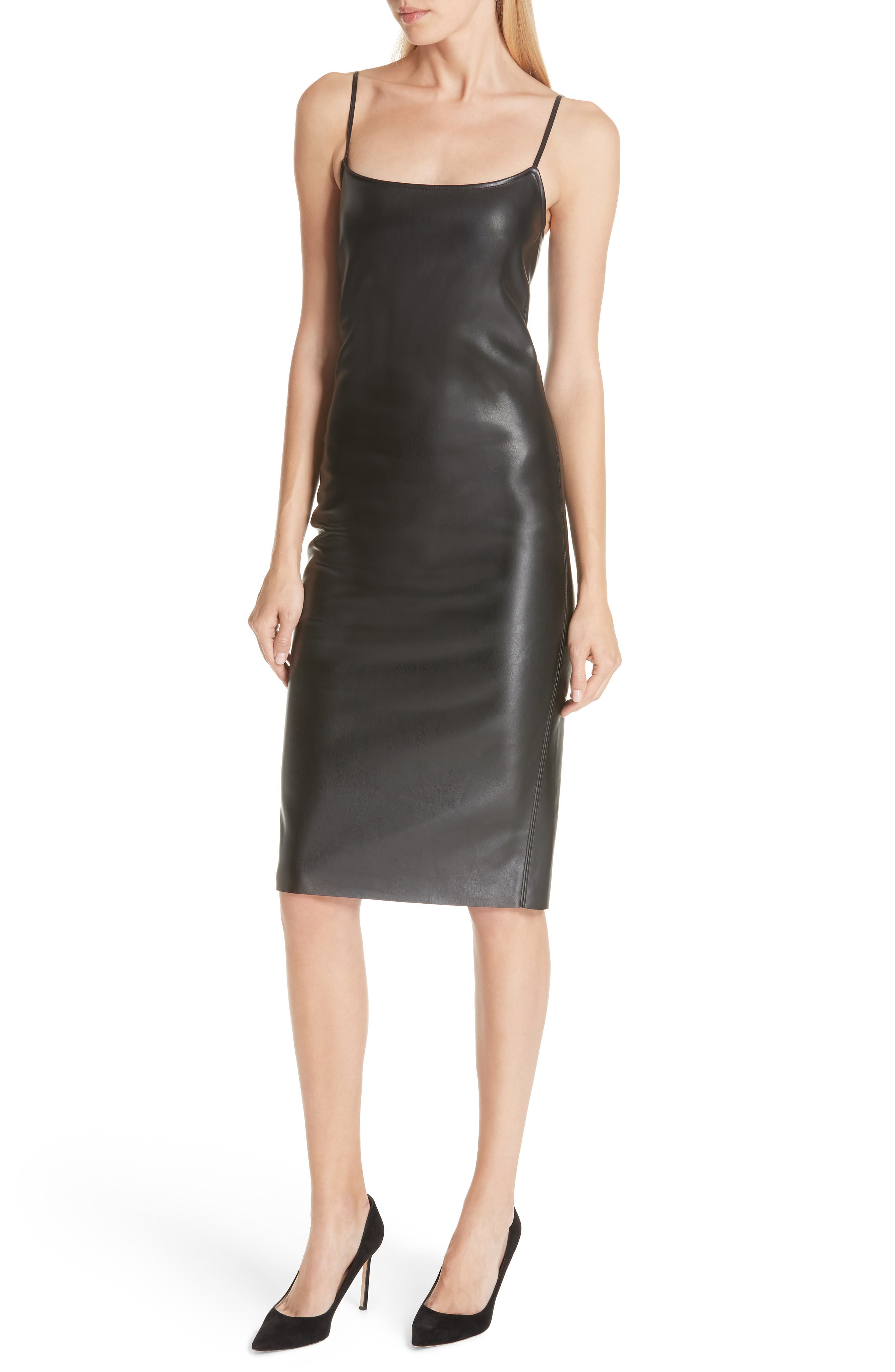 Bedford Faux Leather Slipdress,                         Main,                         color, 001
