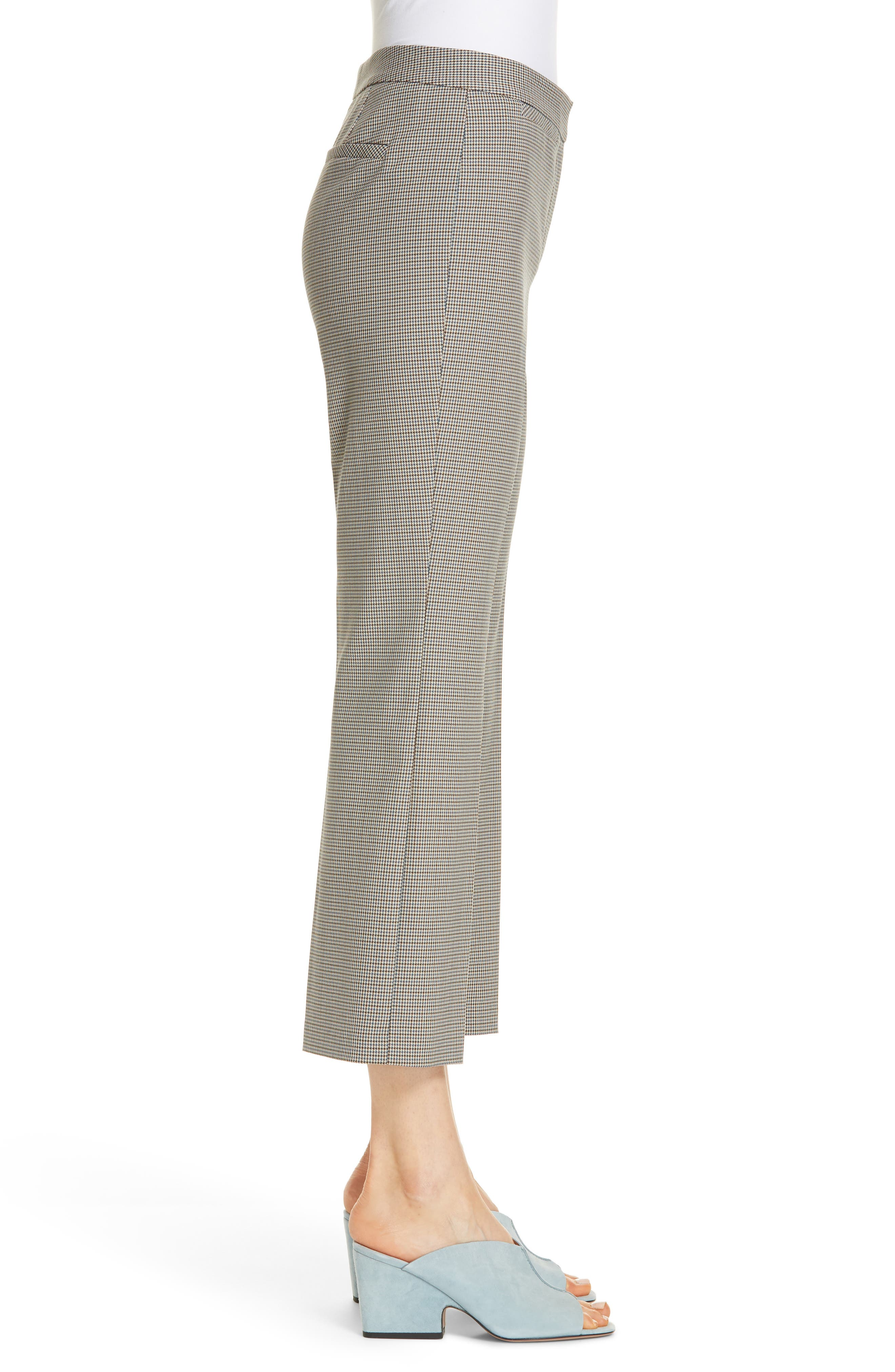Check Flare Leg Crop Pants,                             Alternate thumbnail 3, color,                             IVORY DOGTOOTH WEAVE