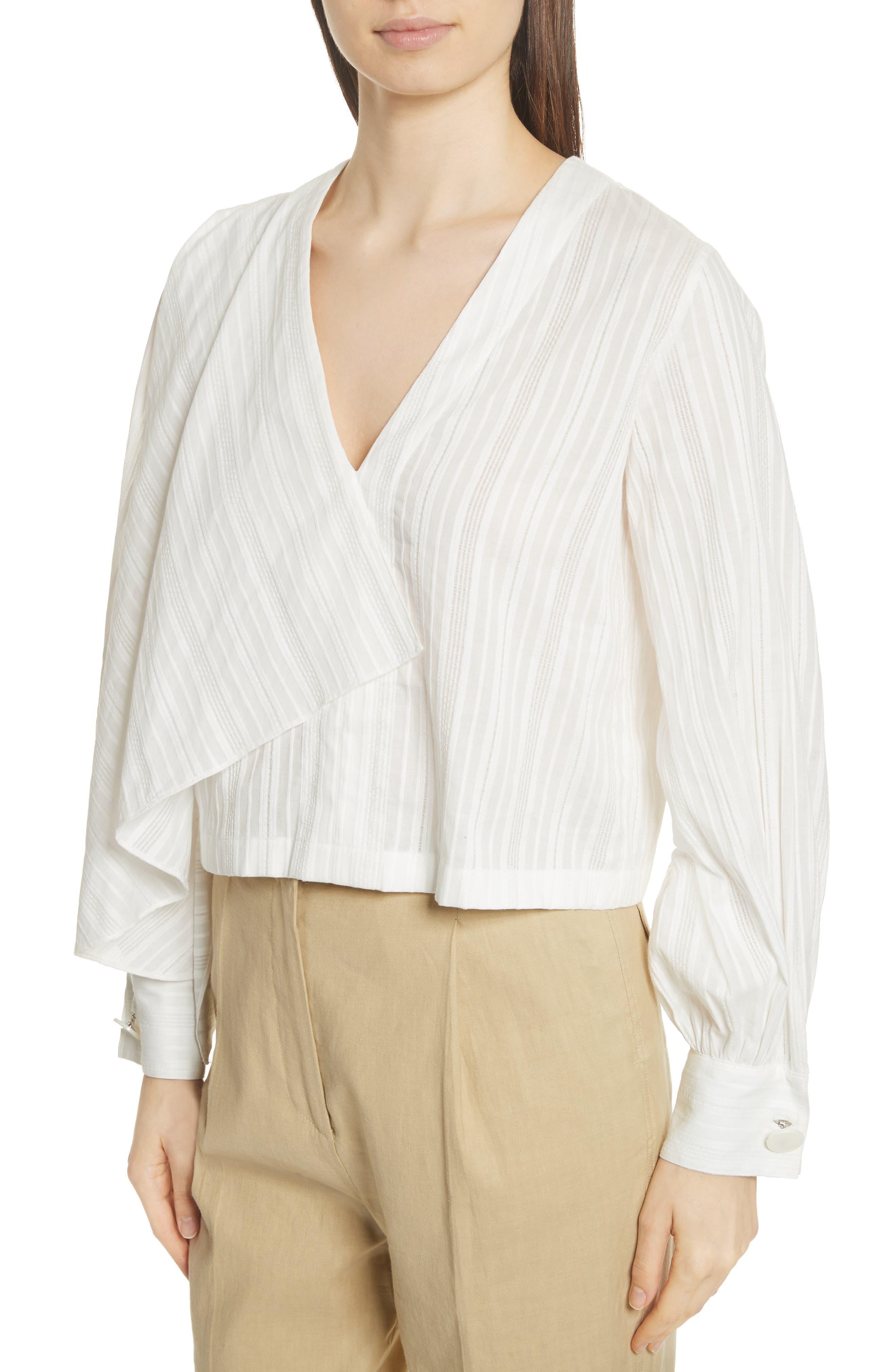 Stripe Drape Front Blouse,                             Alternate thumbnail 4, color,                             900